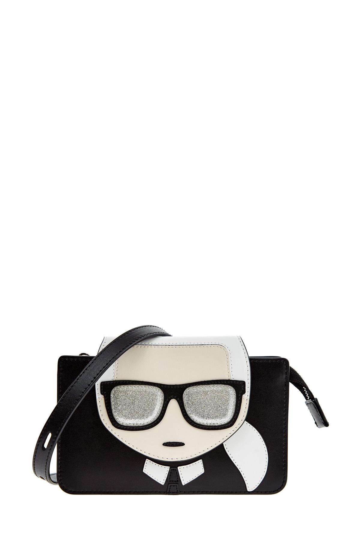 Купить Миниатюрная сумка K/Ikonik с тремя отделениями, KARL LAGERFELD, Италия, кожа 100%