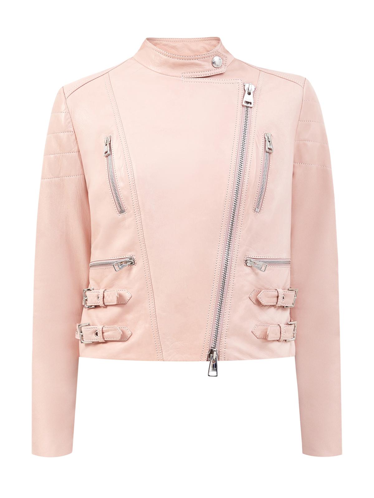 Укороченная куртка из гладкой кожи с серебристой фурнитурой