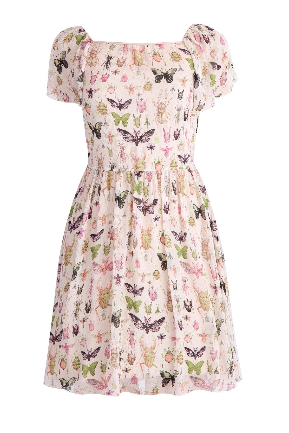 Купить со скидкой Платье из крепового шелка с принтом «Насекомые» и мягкими оборками
