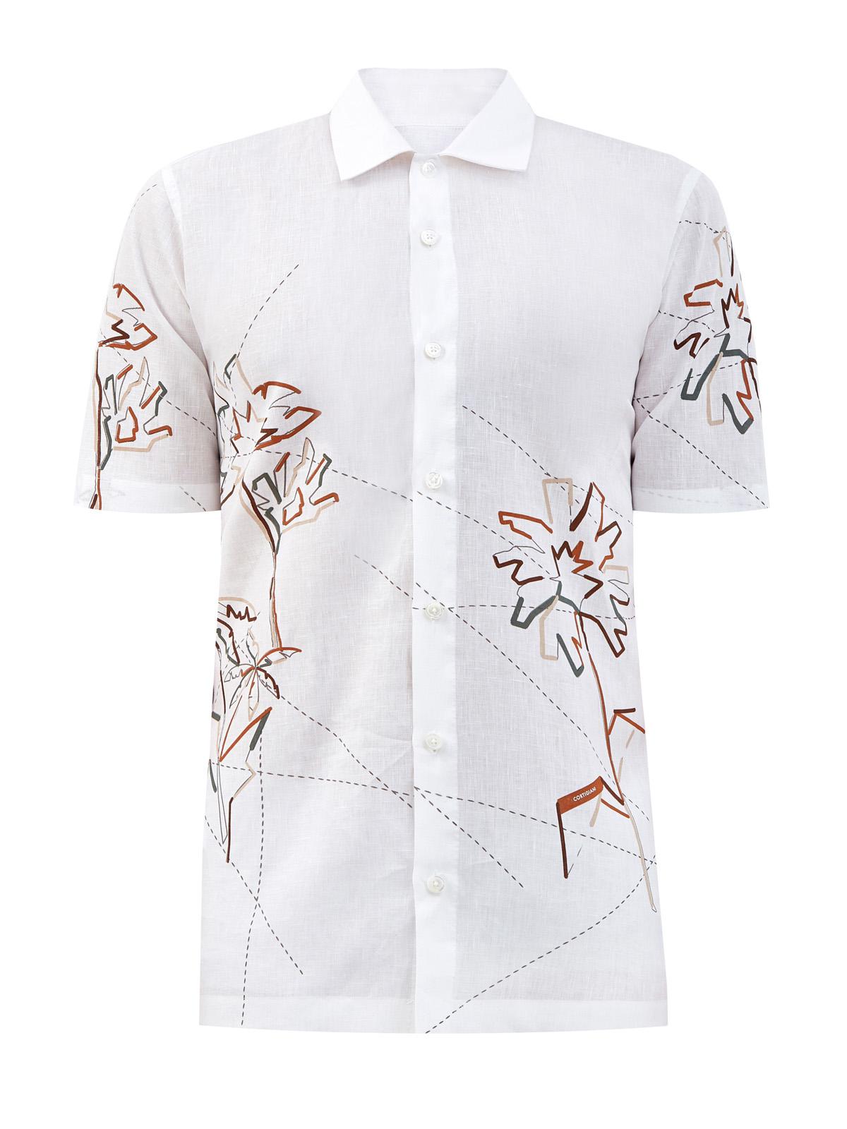 Светлая рубашка из дышащего льна с принтом