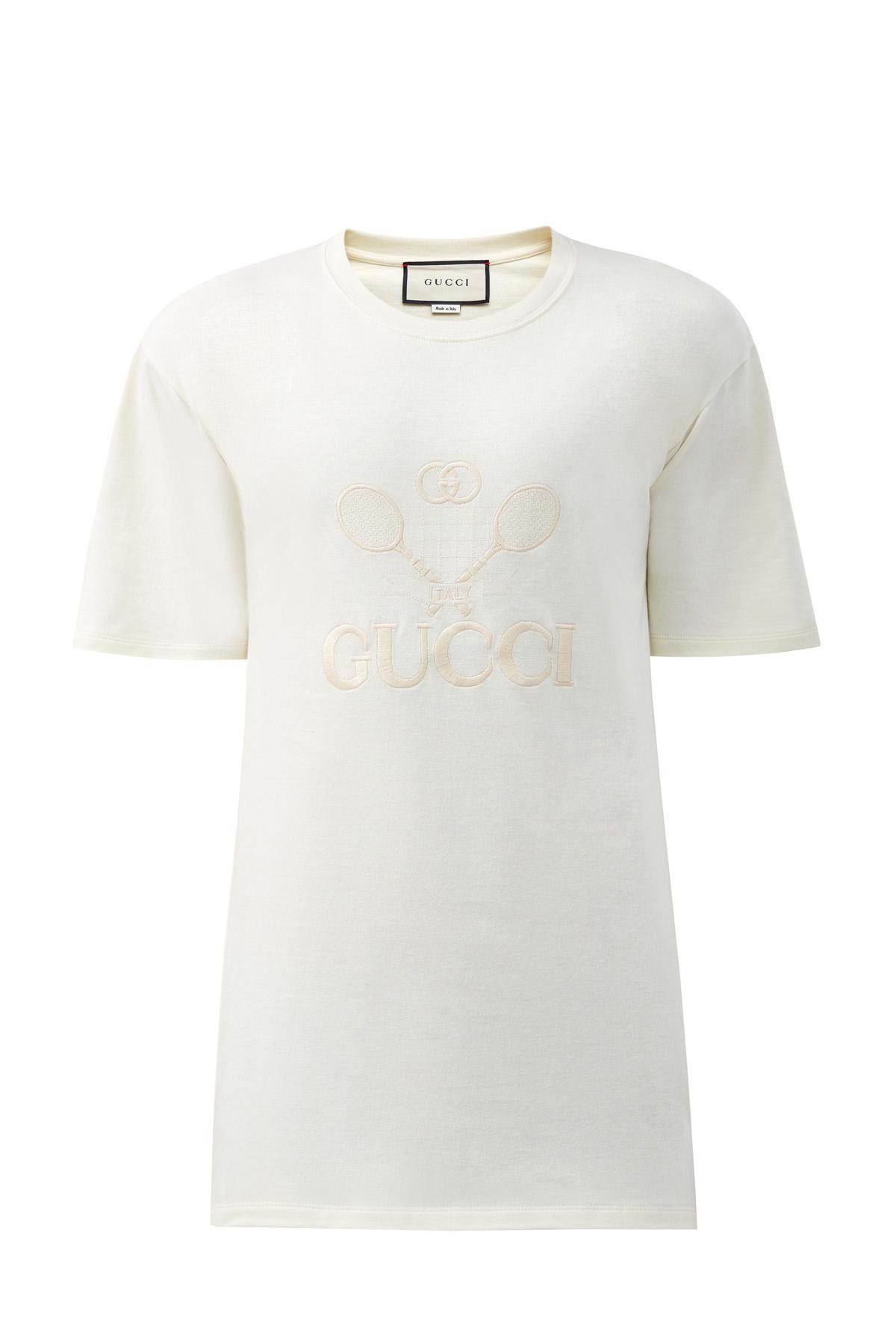Хлопковая футболка с вышивкой Gucci Tennis фото