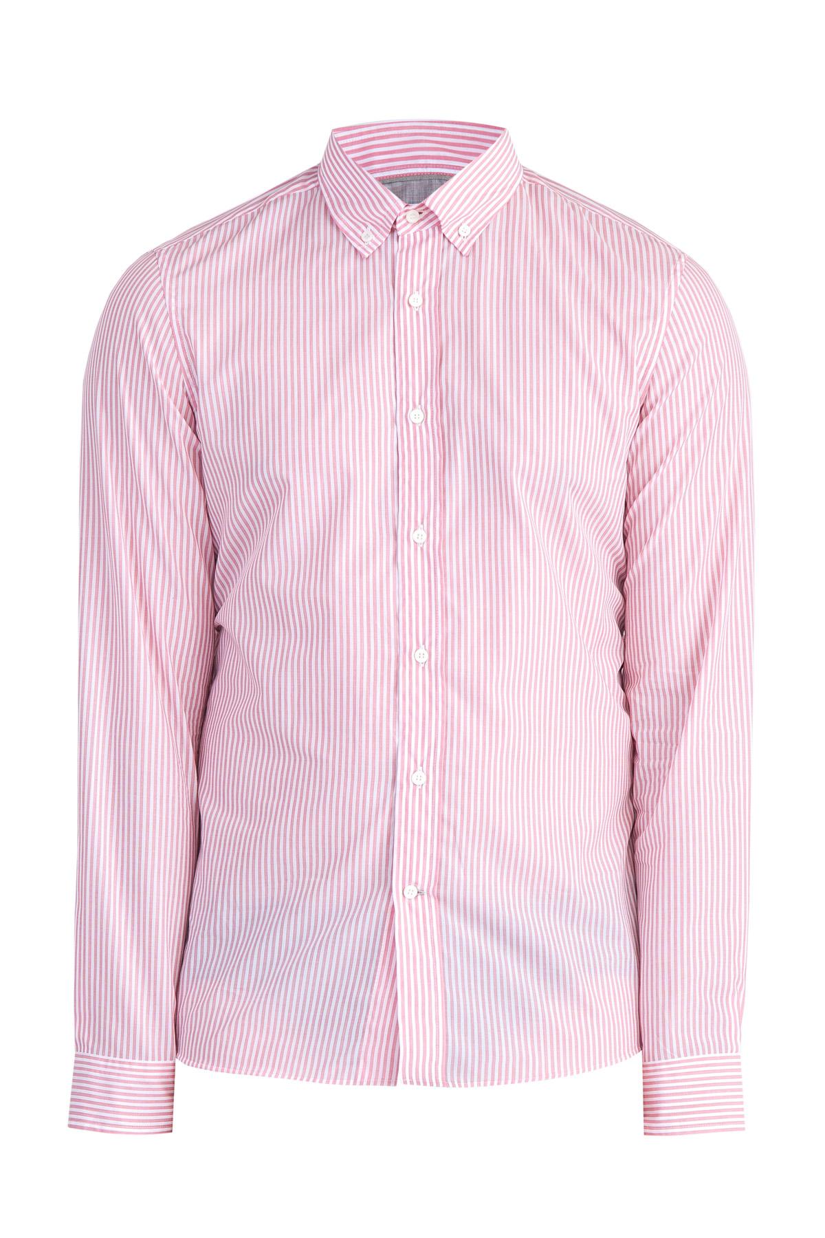 Хлопковая рубашка с узором в виде вертикальных полос розового цвета