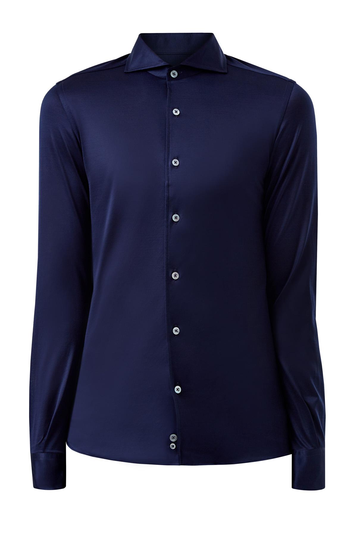 Приталенная рубашка из тонкого хлопка с сатиновым блеском фото