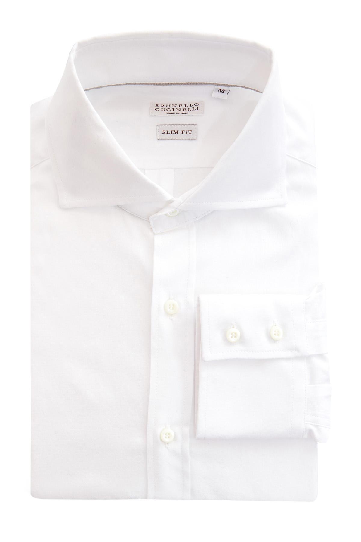 Купить Рубашка приталенного кроя с французским отложным воротником, BRUNELLO CUCINELLI, Италия, хлопок 100%