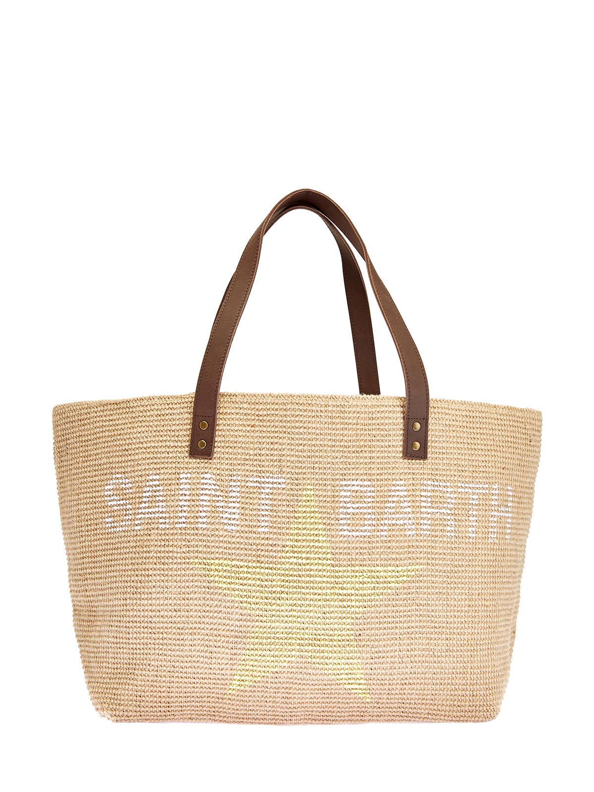 Пляжная сумка из джута с кожаной отделкой