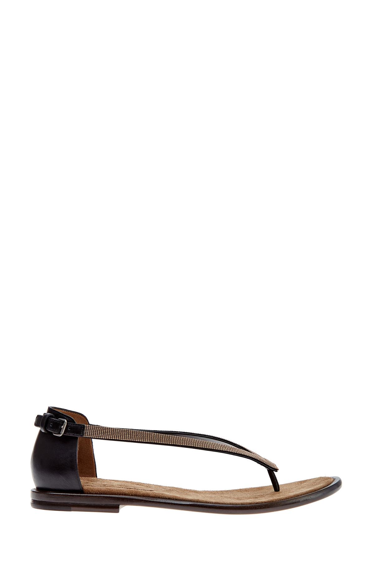 Сандалии на низком ходу с ремешками ручной работы и вышивкой Мониль