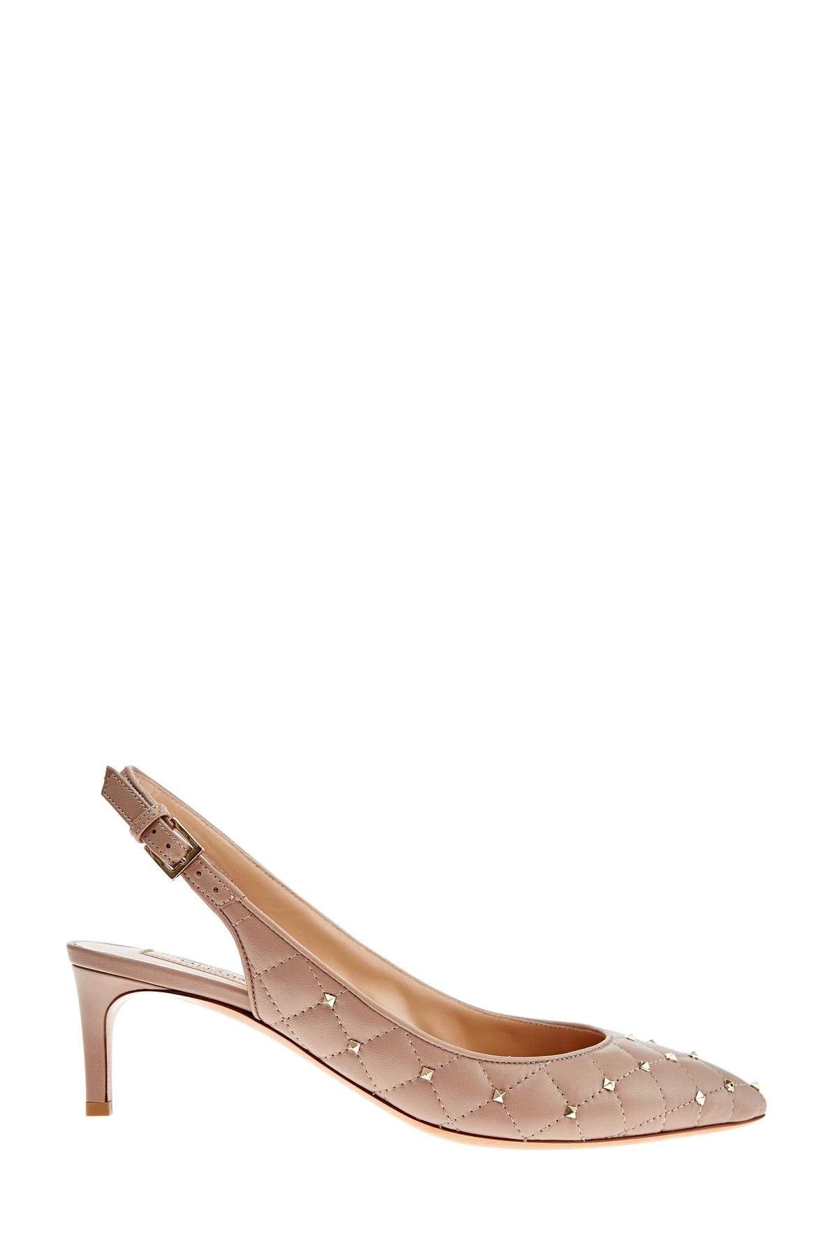 Купить Туфли Rockstud Spike со стеганым узором и каблуком kitten-heel, VALENTINO, Италия, кожа 100%