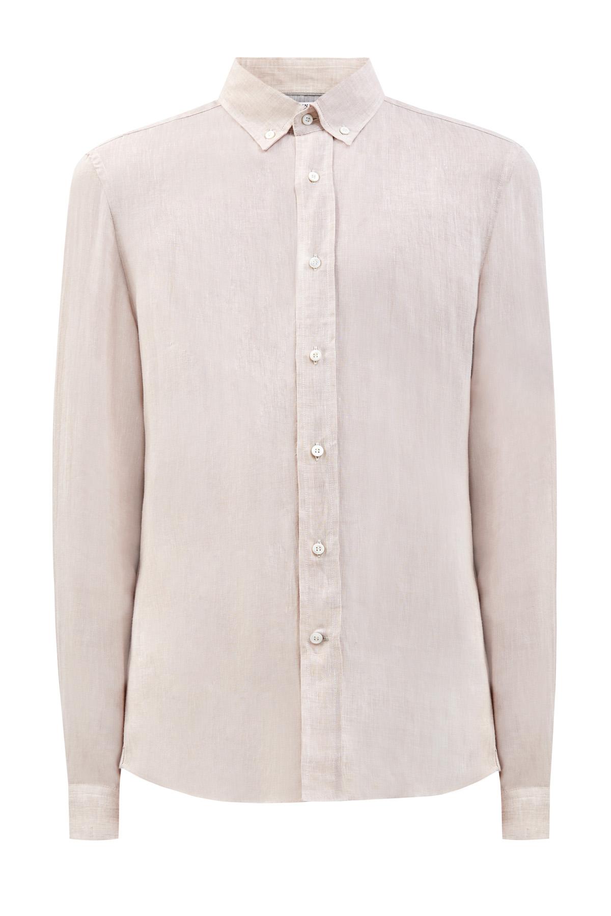 Рубашка из натурального льна с воротом button-down
