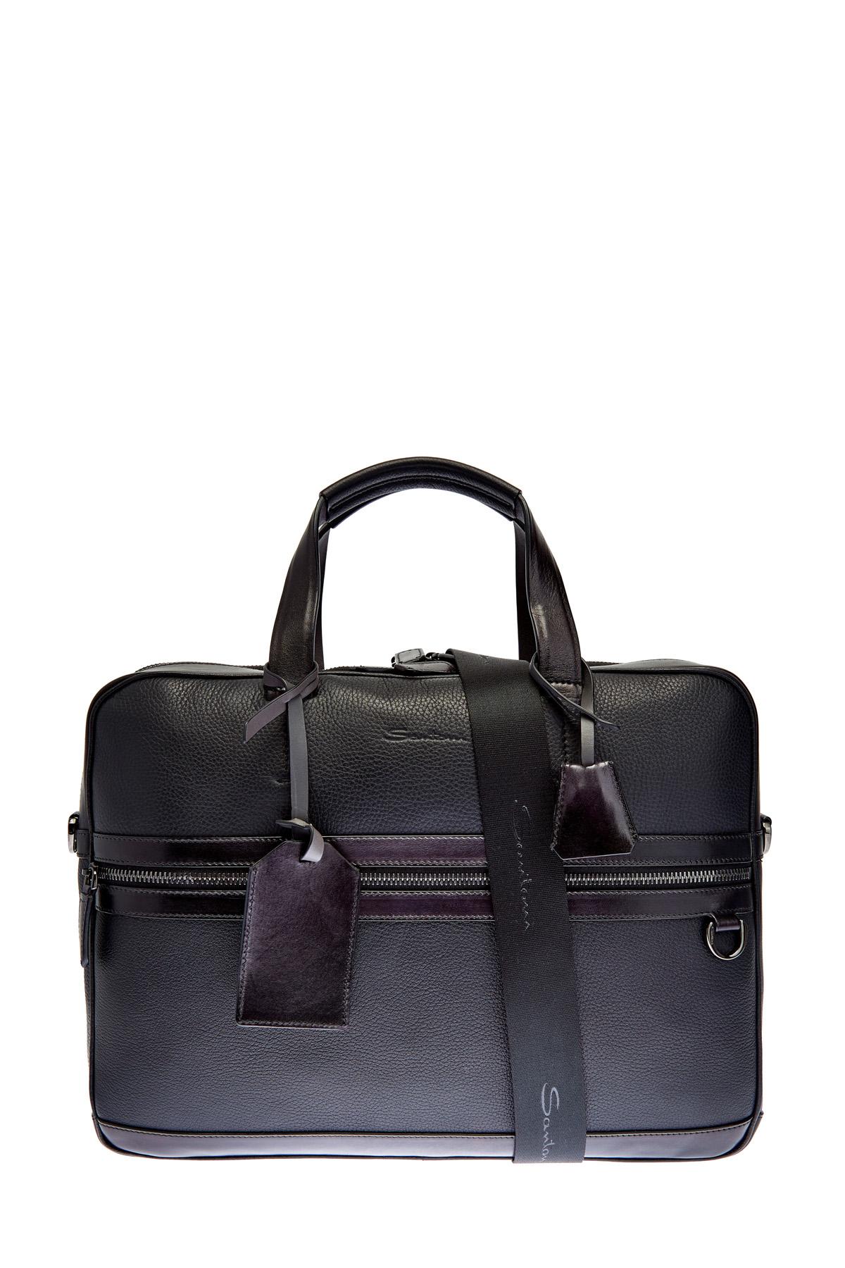 Кожаная сумка с карманом для бумаг А4 и съемным плечевым ремнем