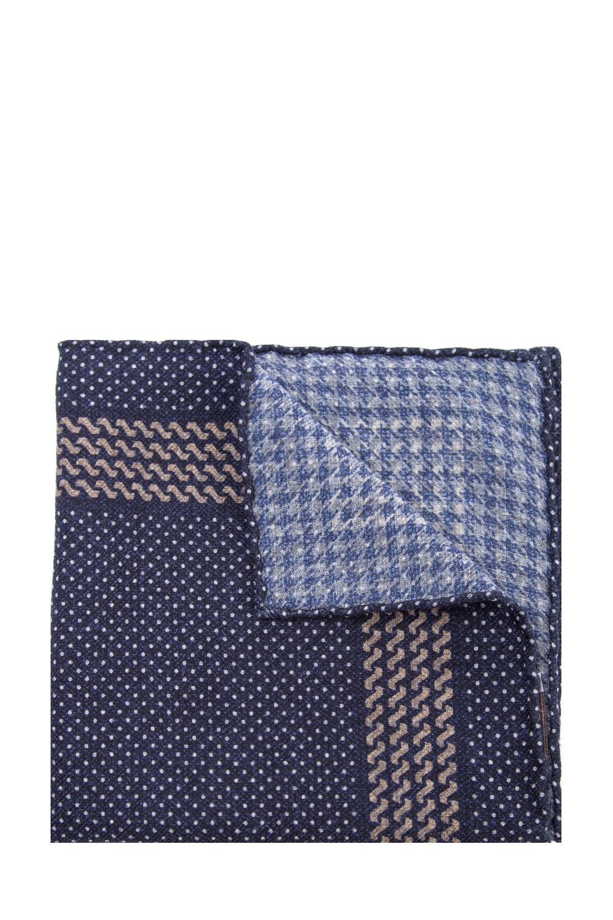 Купить Карманный платок из мягкой шерстяной фланели синего цвета, BRUNELLO CUCINELLI, Италия, шерсть 100%