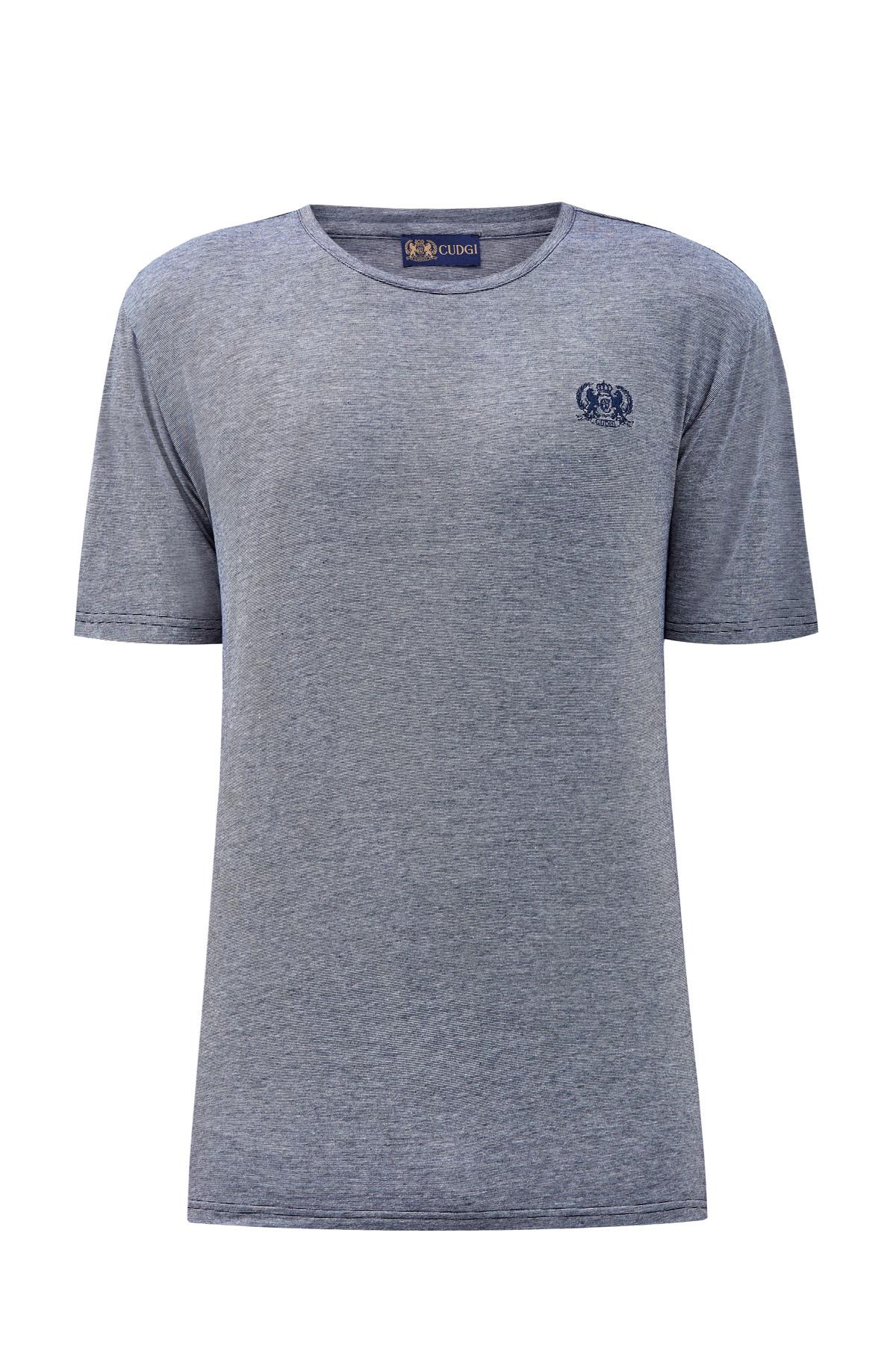Хлопковая футболка с контрастными швами и вышитым логотипом фото