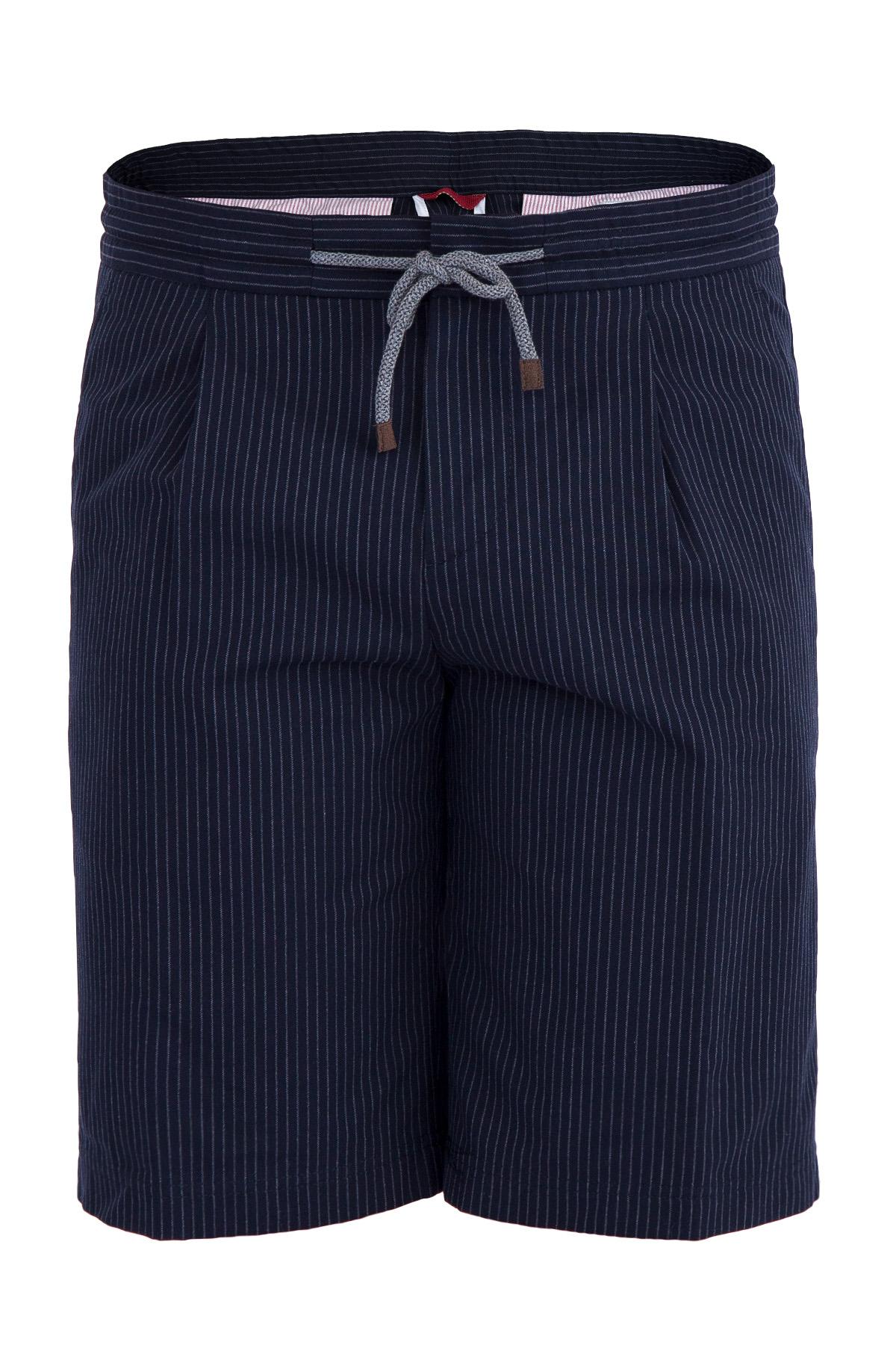 Купить со скидкой Бермуды из хлопковой ткани синего цвета с двойной витой нитью в меловую полоску