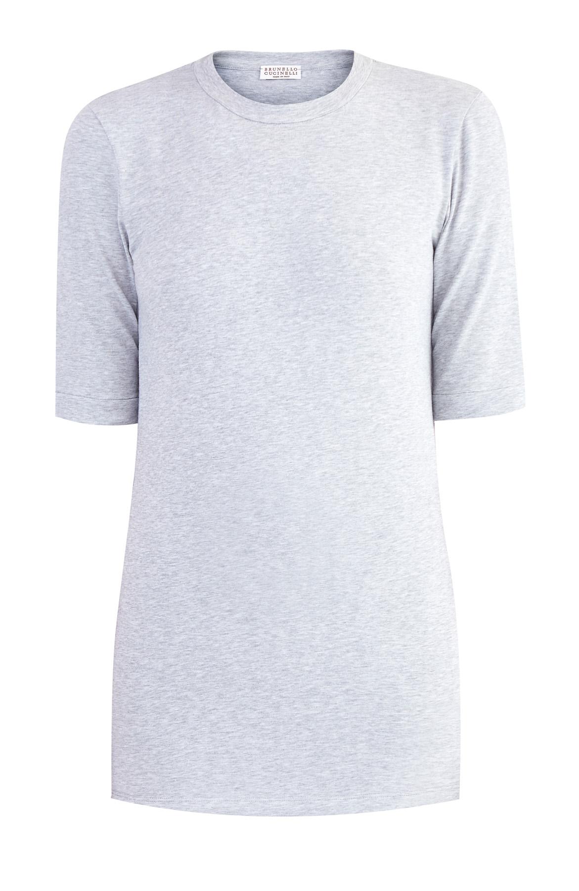 Купить Базовая футболка с удлиненными рукавами, BRUNELLO CUCINELLI, Италия, хлопок 93%, эластан 7%