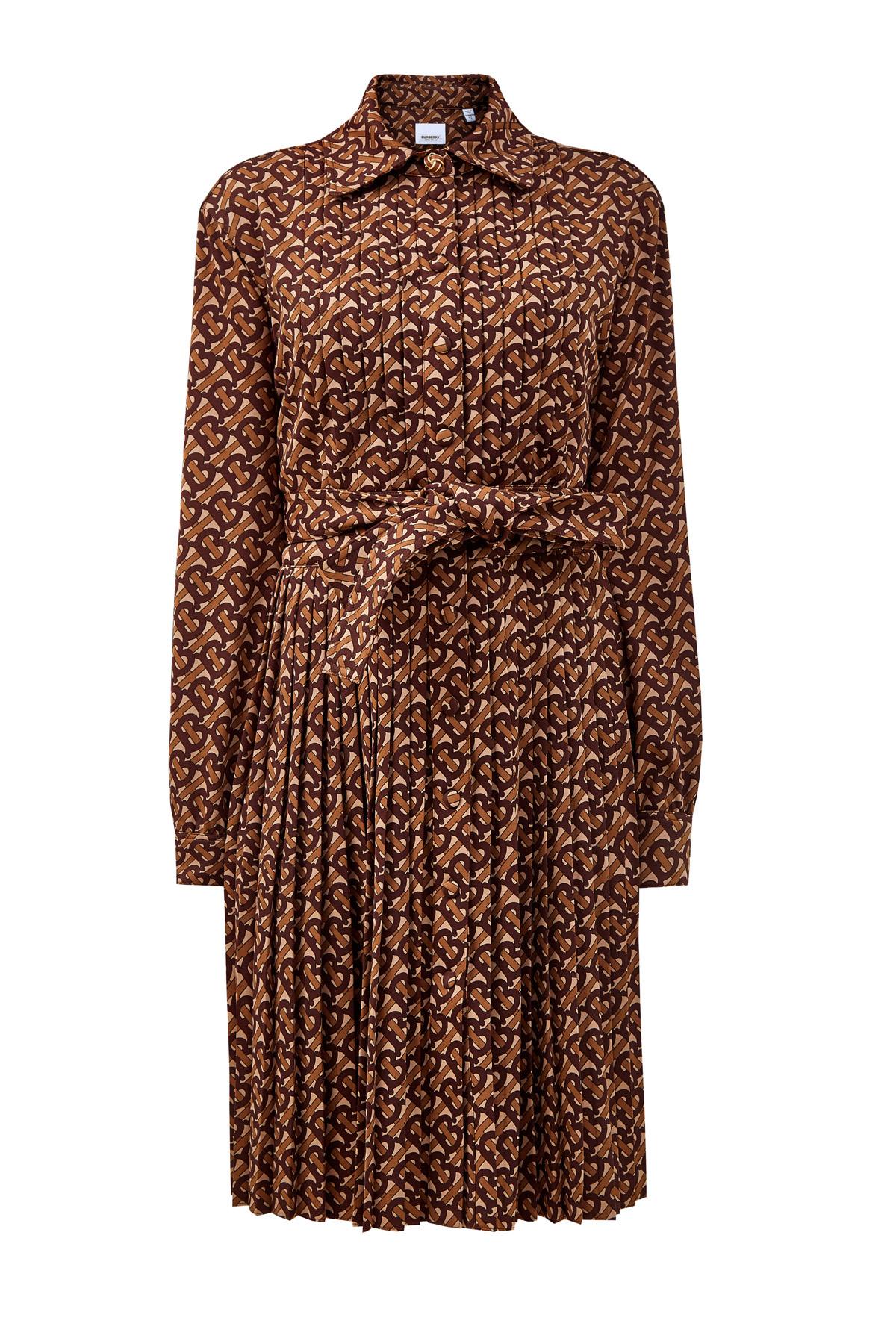 Платье-рубашка с плиссированным подолом и поясом фото