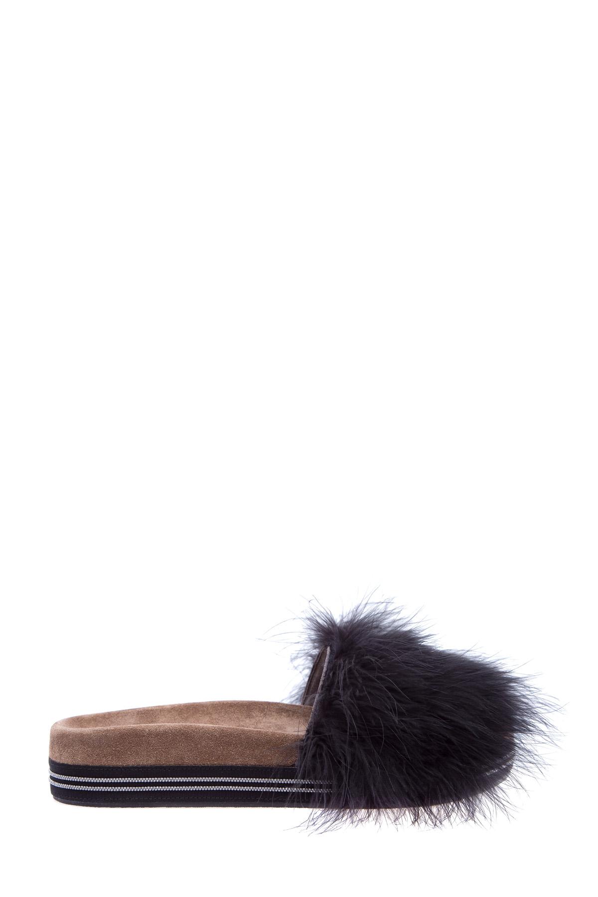 Шлепанцы Feathers & Shine с пухом страуса Марабу