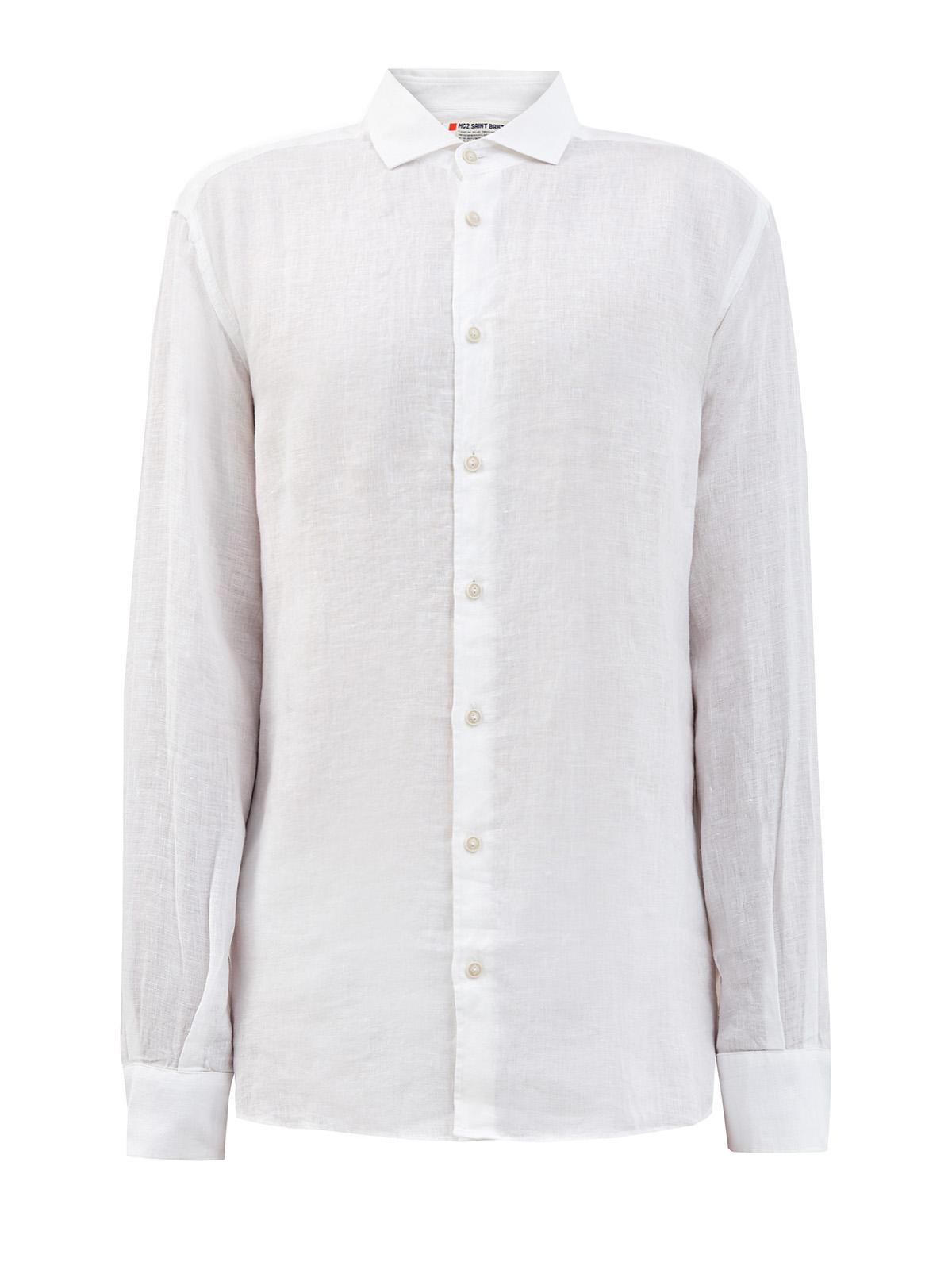 Рубашка из белого льна с неоднородной текстурой