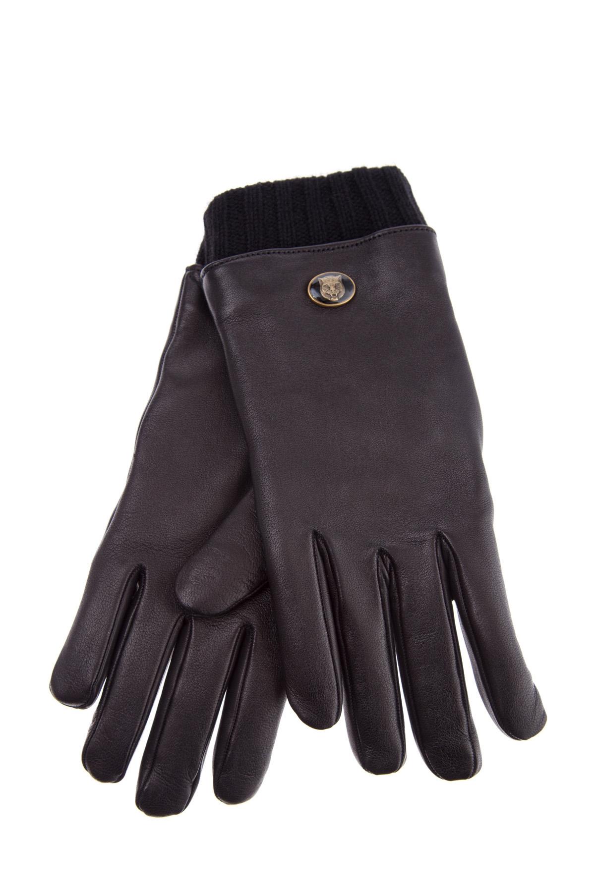 Перчатки из кожи с внутренней отделкой и трикотажной кромкой
