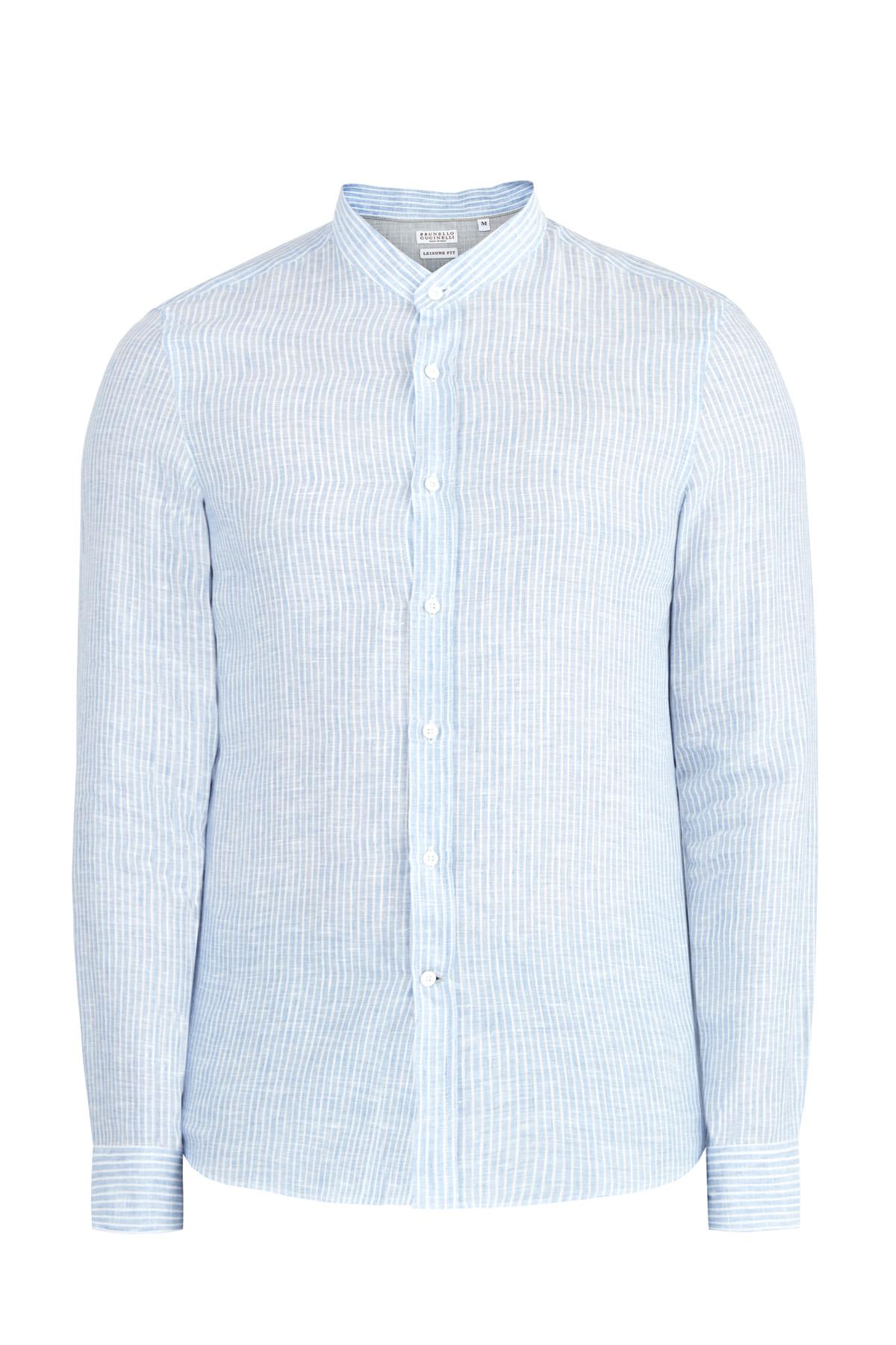 Свободная льняная рубашка с принтом в тонкую полоску