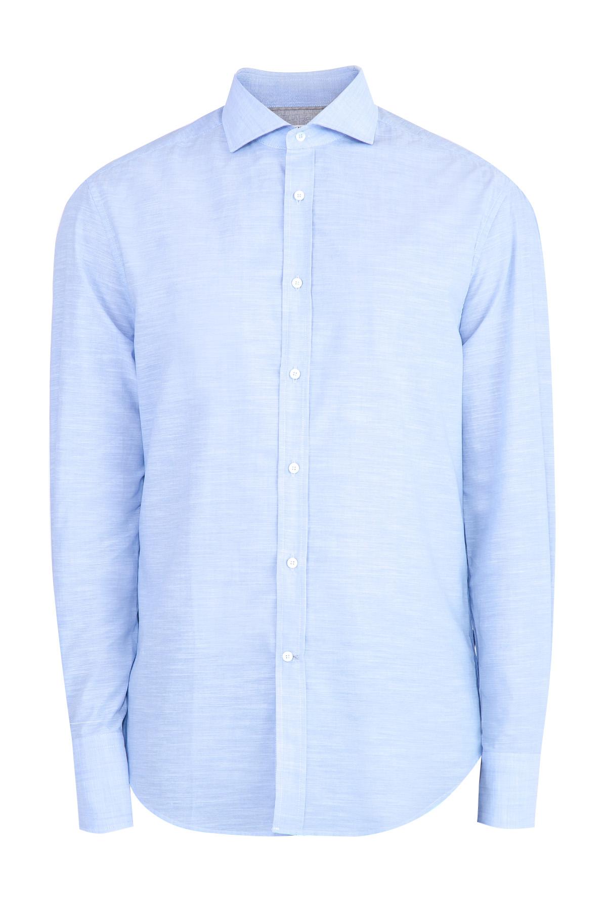 Купить Рубашка из дышащего хлопка с отложным воротником, BRUNELLO CUCINELLI, Италия, хлопок 100%