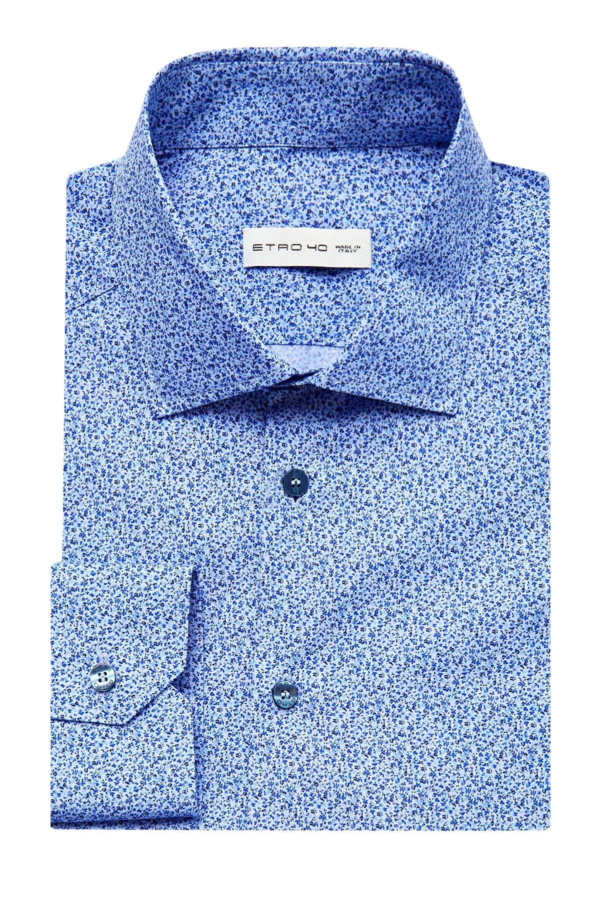 Приталенная рубашка из хлопка с микро-принтом