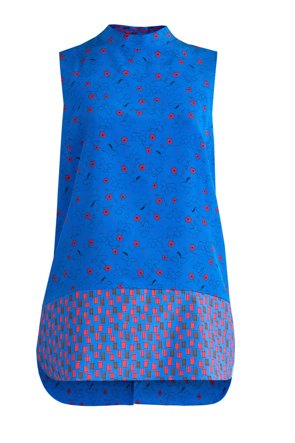 Топ из шелковой ткани с цветочным принтом и отрезным подолом, Синий
