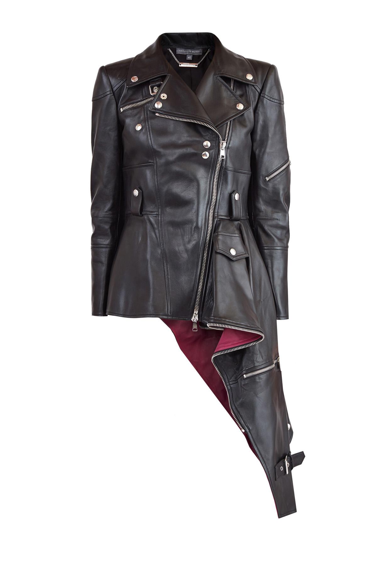 Купить Куртка из кожи наппа с асимметричной баской и контрастной отделкой, ALEXANDER MCQUEEN, Италия, кожа 100%
