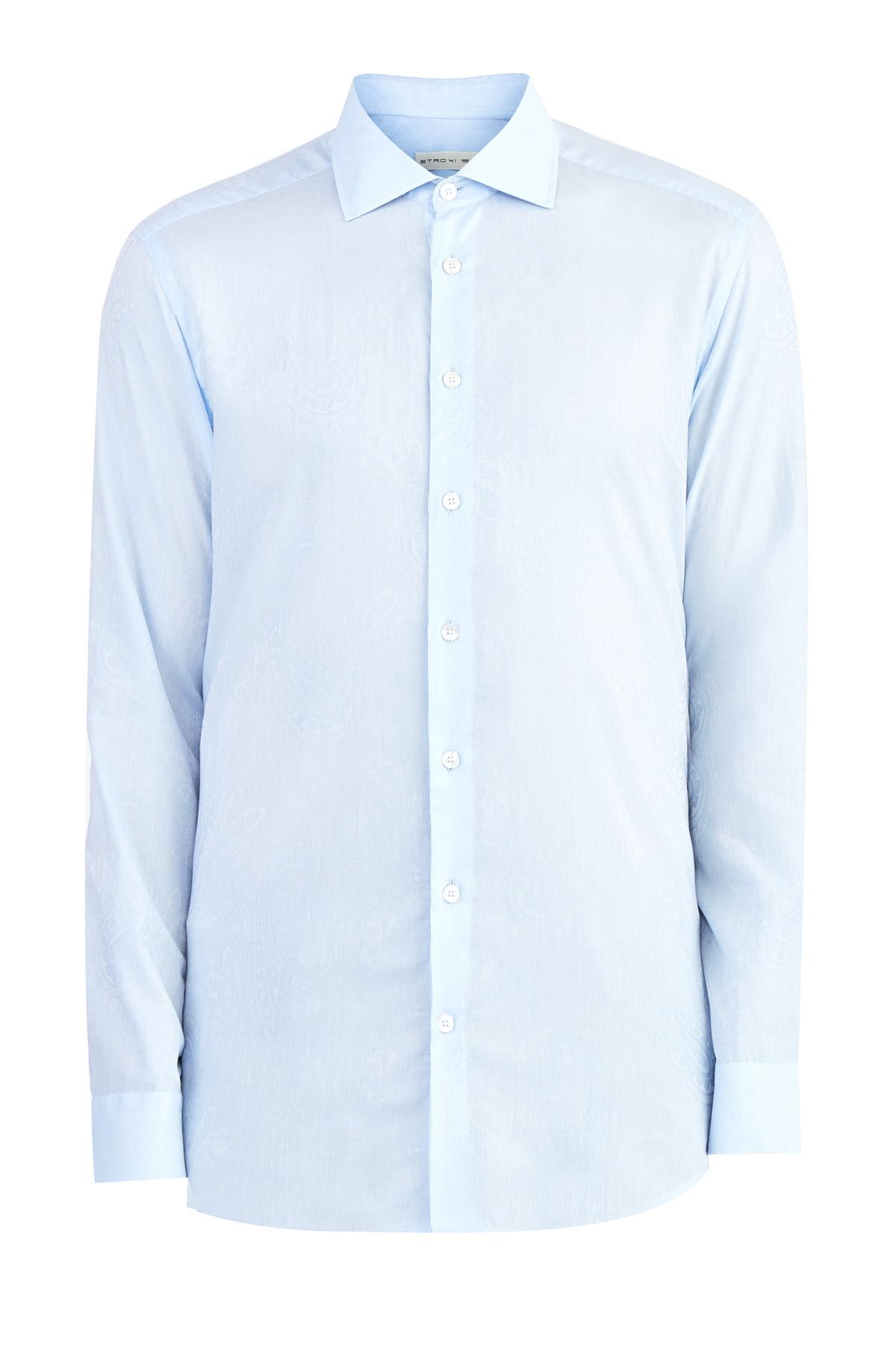 Хлопковая рубашка с макро-принтом в жаккардовой технике фото