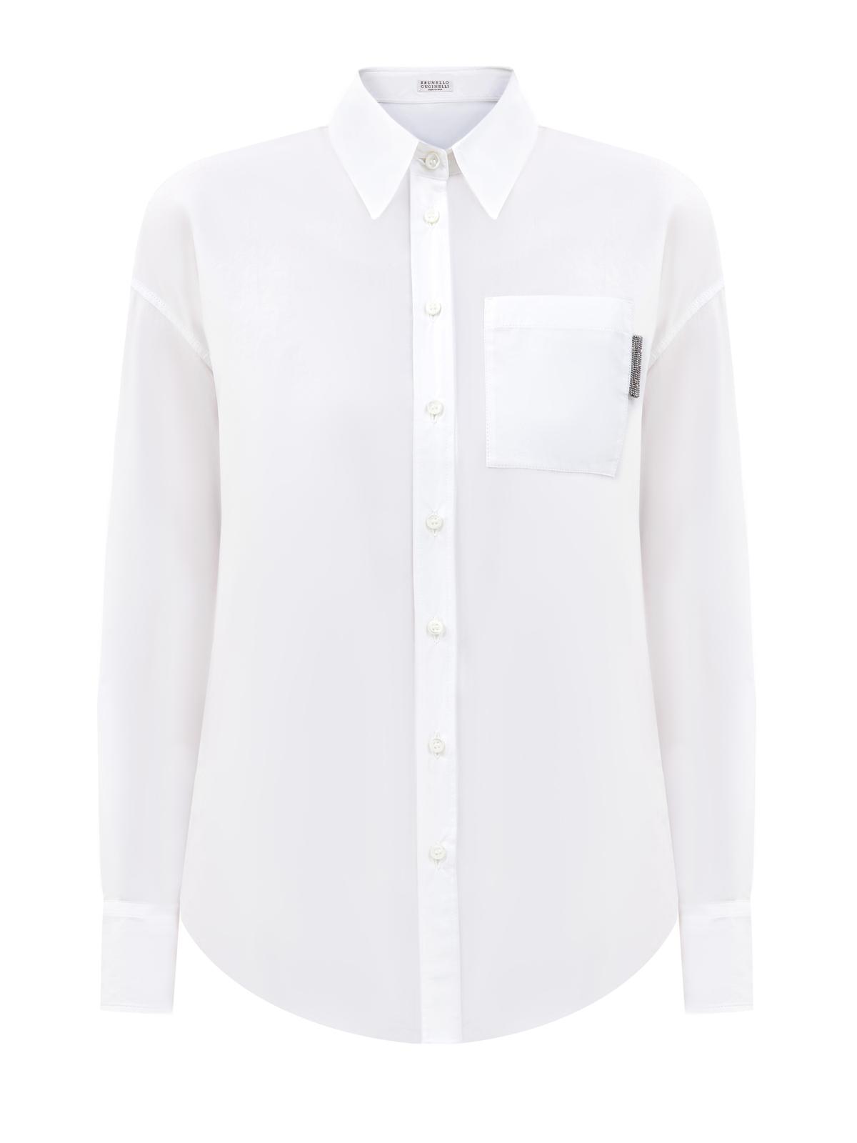 Рубашка изгладкого поплина смерцающей отделкой