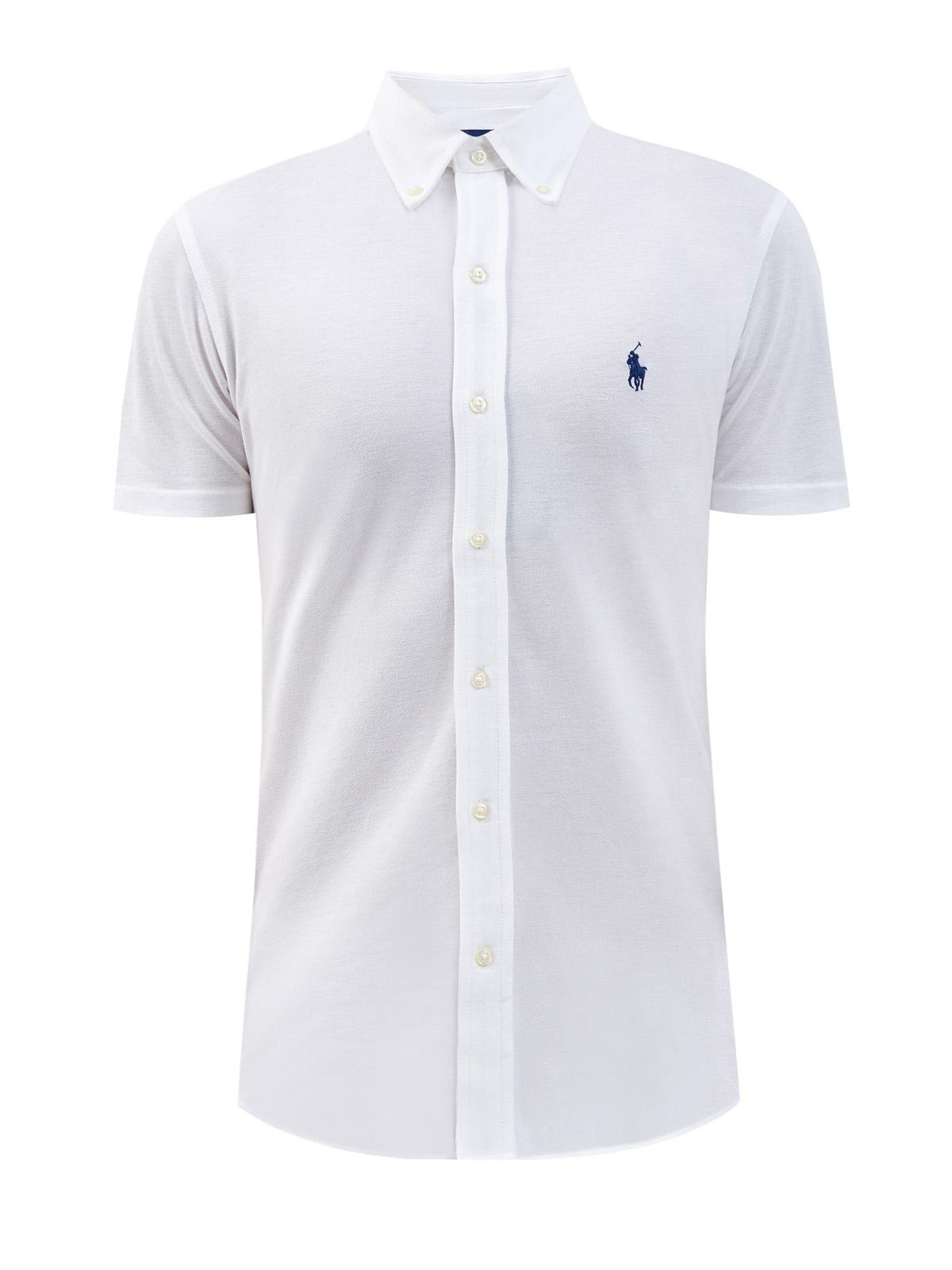 Белая рубашка с короткими рукавами из дышащего хлопка