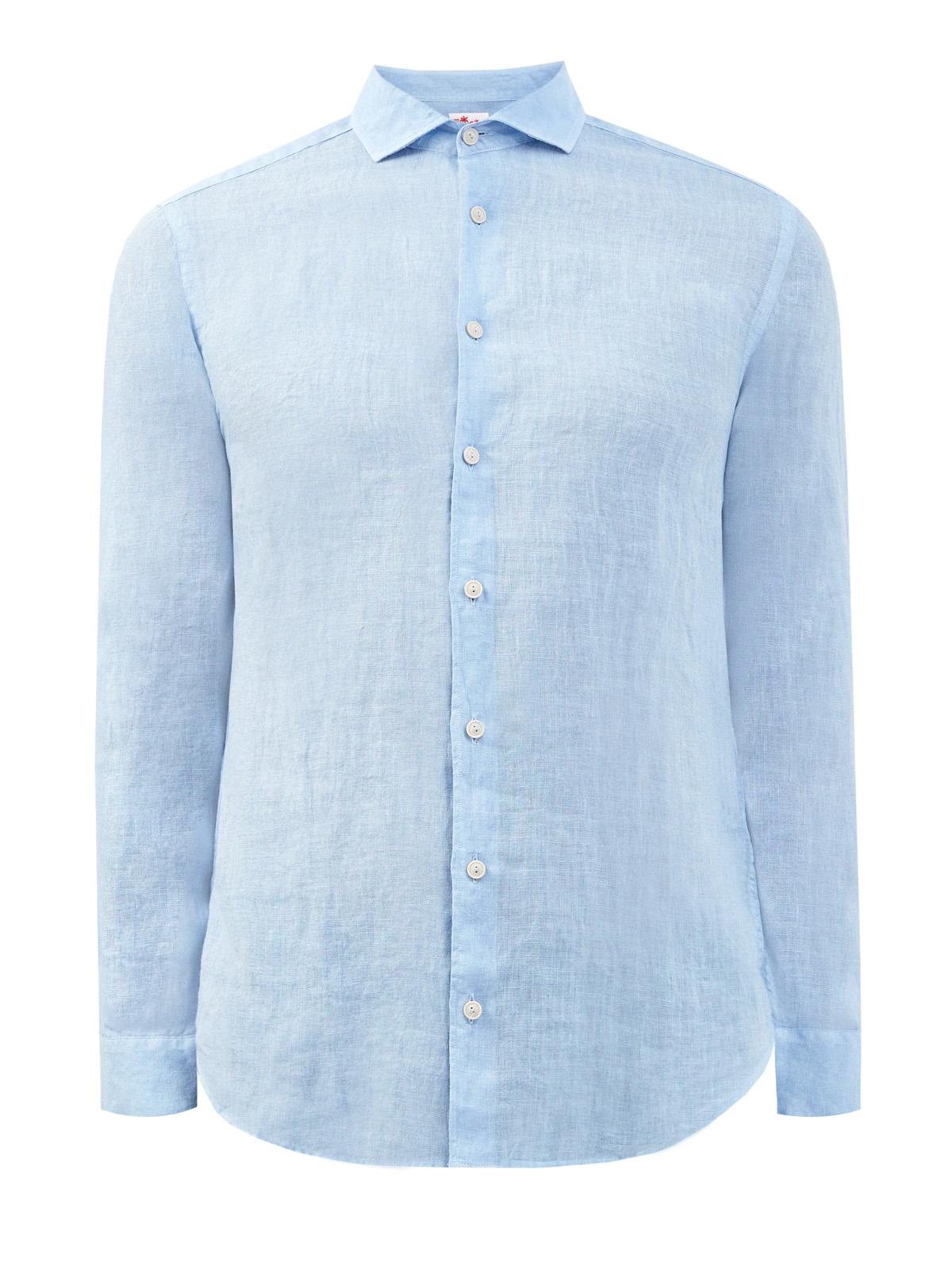 Льняная рубашка с отложным воротником
