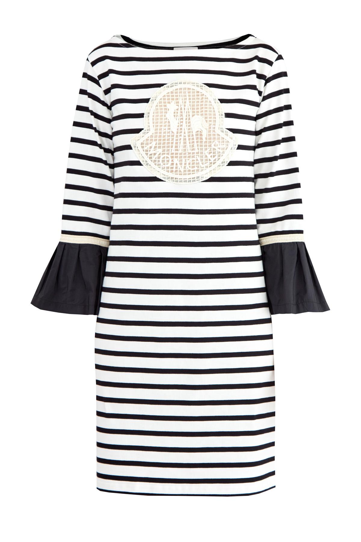 Купить со скидкой Платье из хлопка с воланами из тафты на рукавах и макро-логотипом