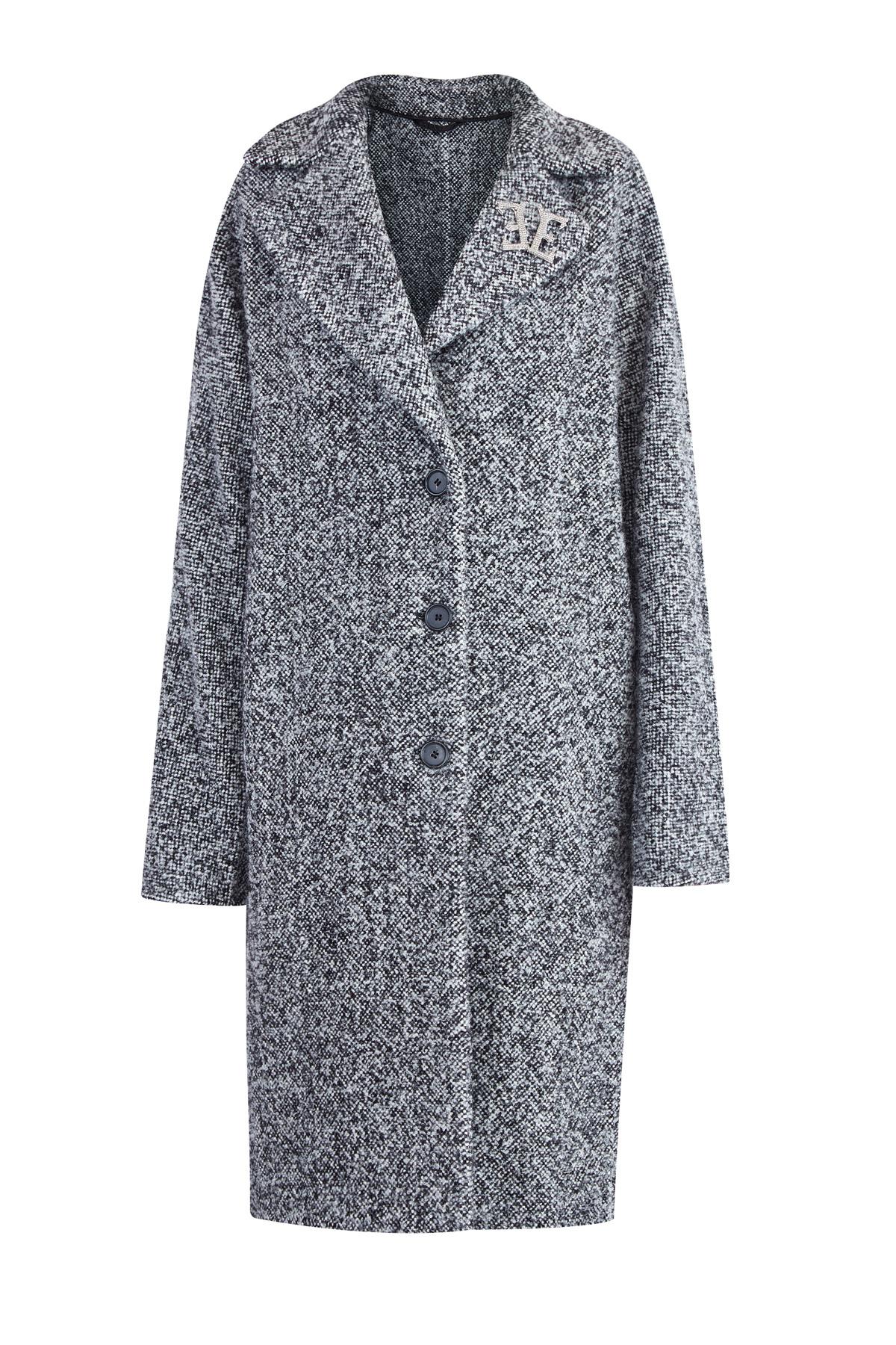 Фактурное черно-белое шерстяное пальто прямого кроя с брошью