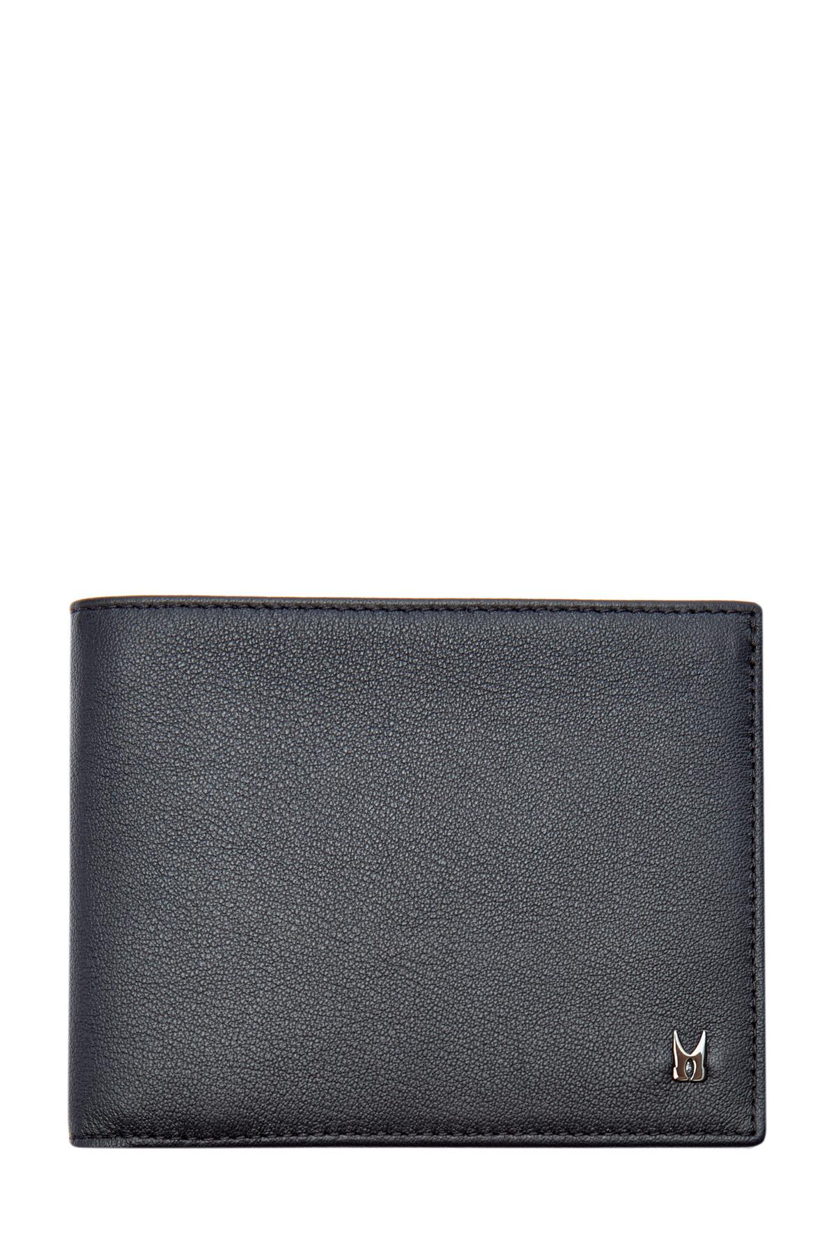 Складной бумажник из телячьей кожи с литым логотипом фото