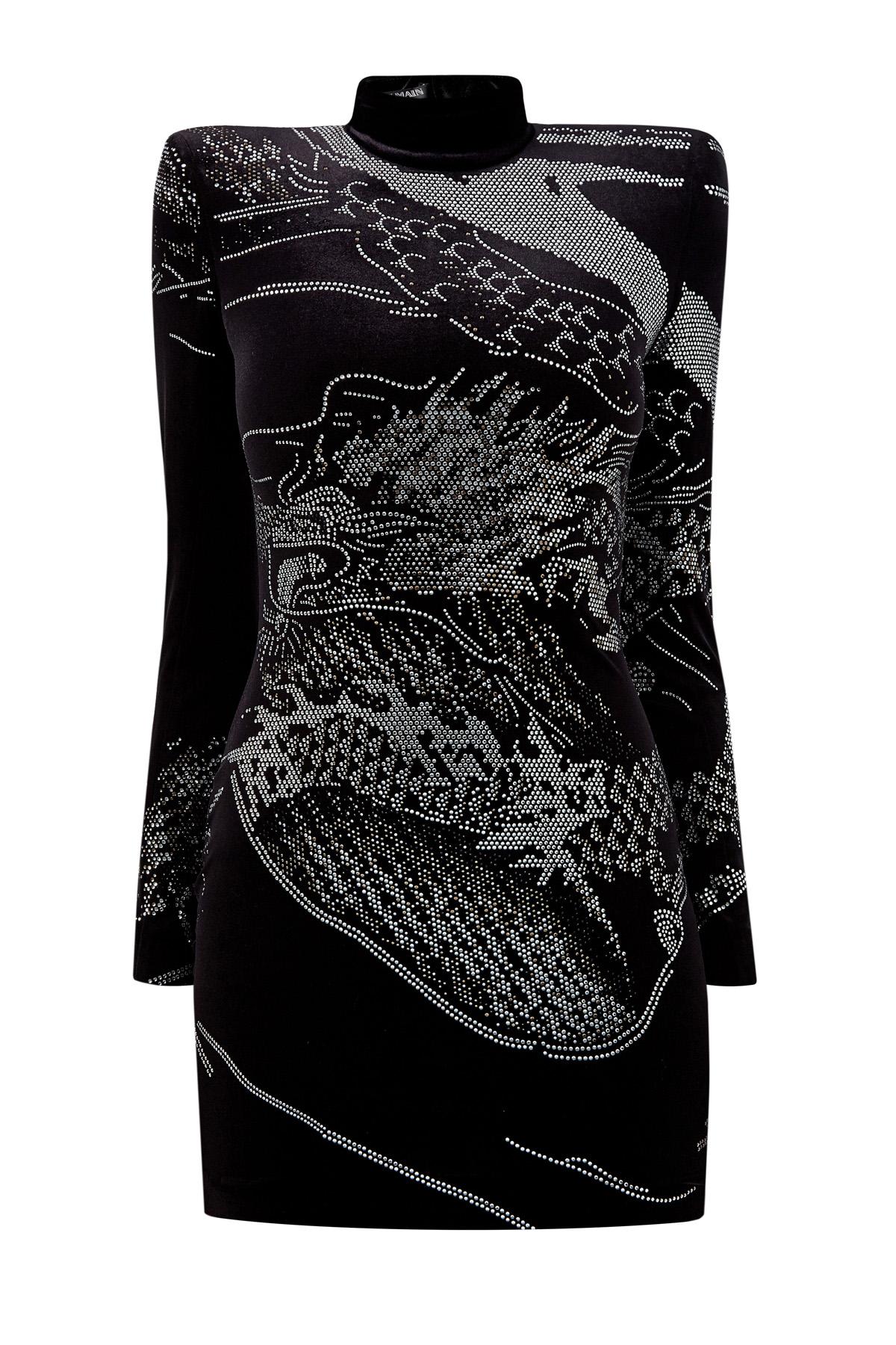 Платье из велюра с аппликацией из стеклянных кристаллов фото