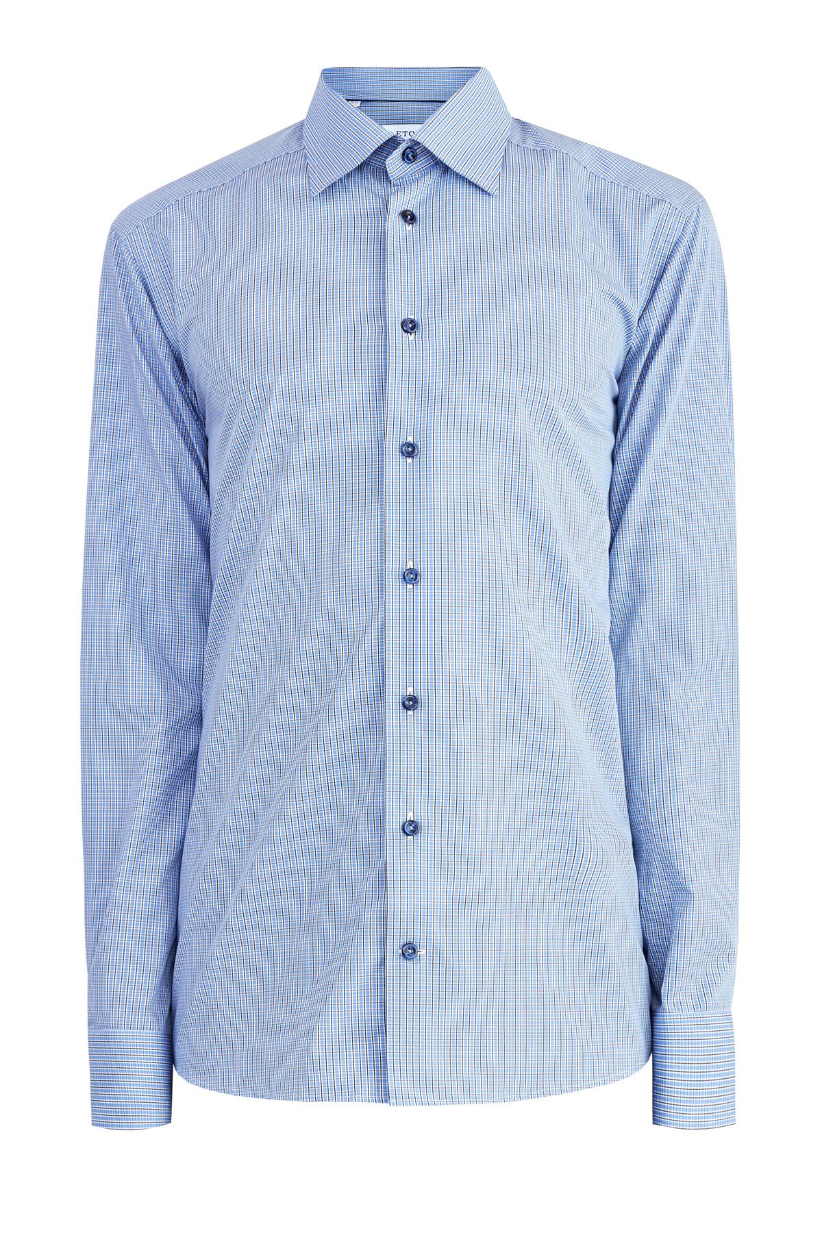 Рубашка с микро-принтом в клетку кроя по фигуре Slim Fit