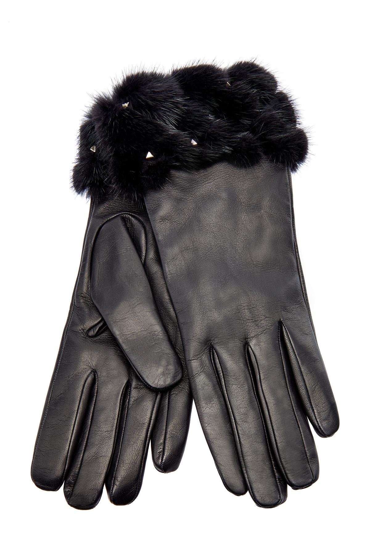 Перчатки из овечьей кожи и меха норки с заклепками Rockstud