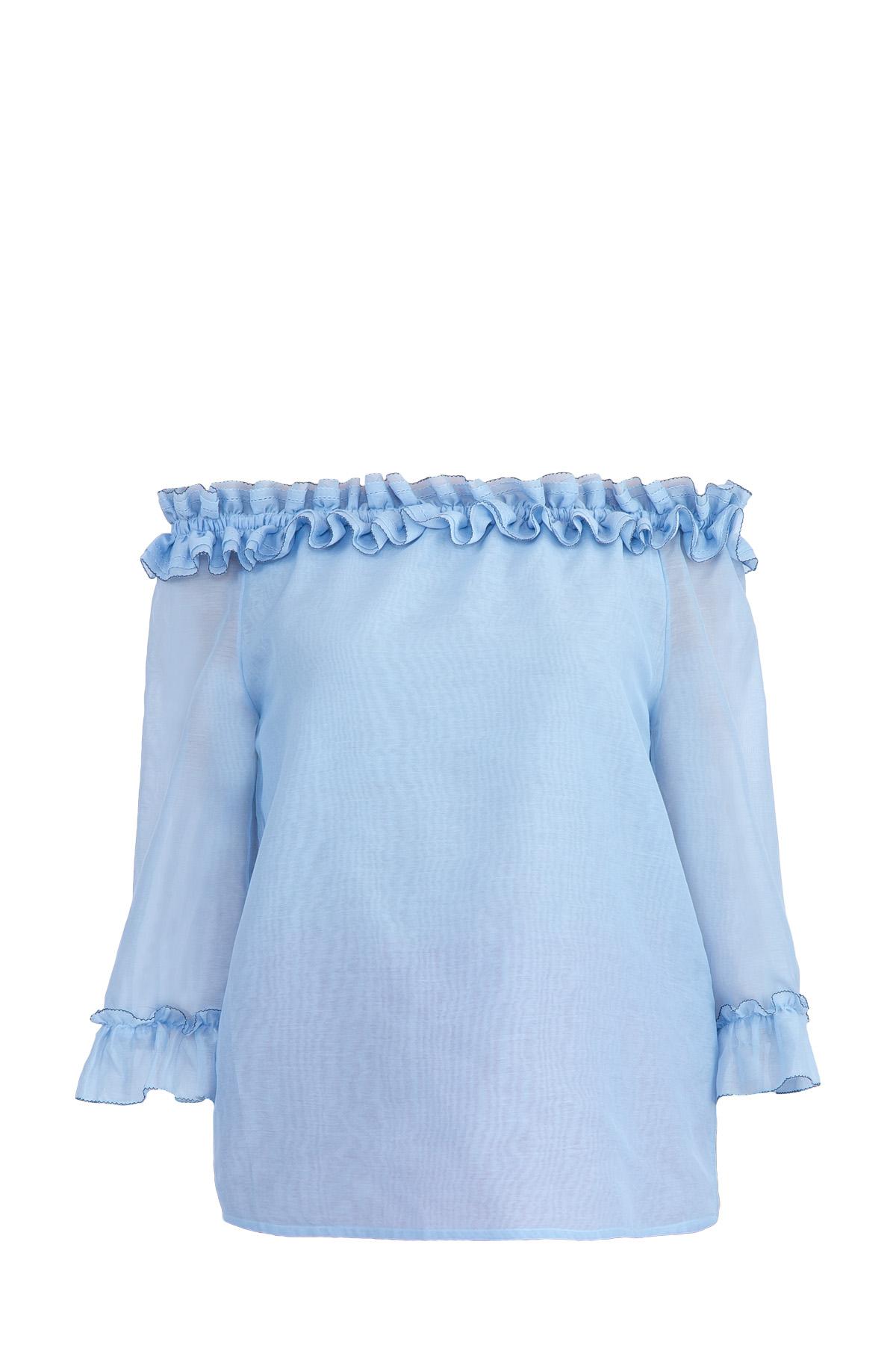 Легкая блузка с открытыми плечами и оборками на кромках
