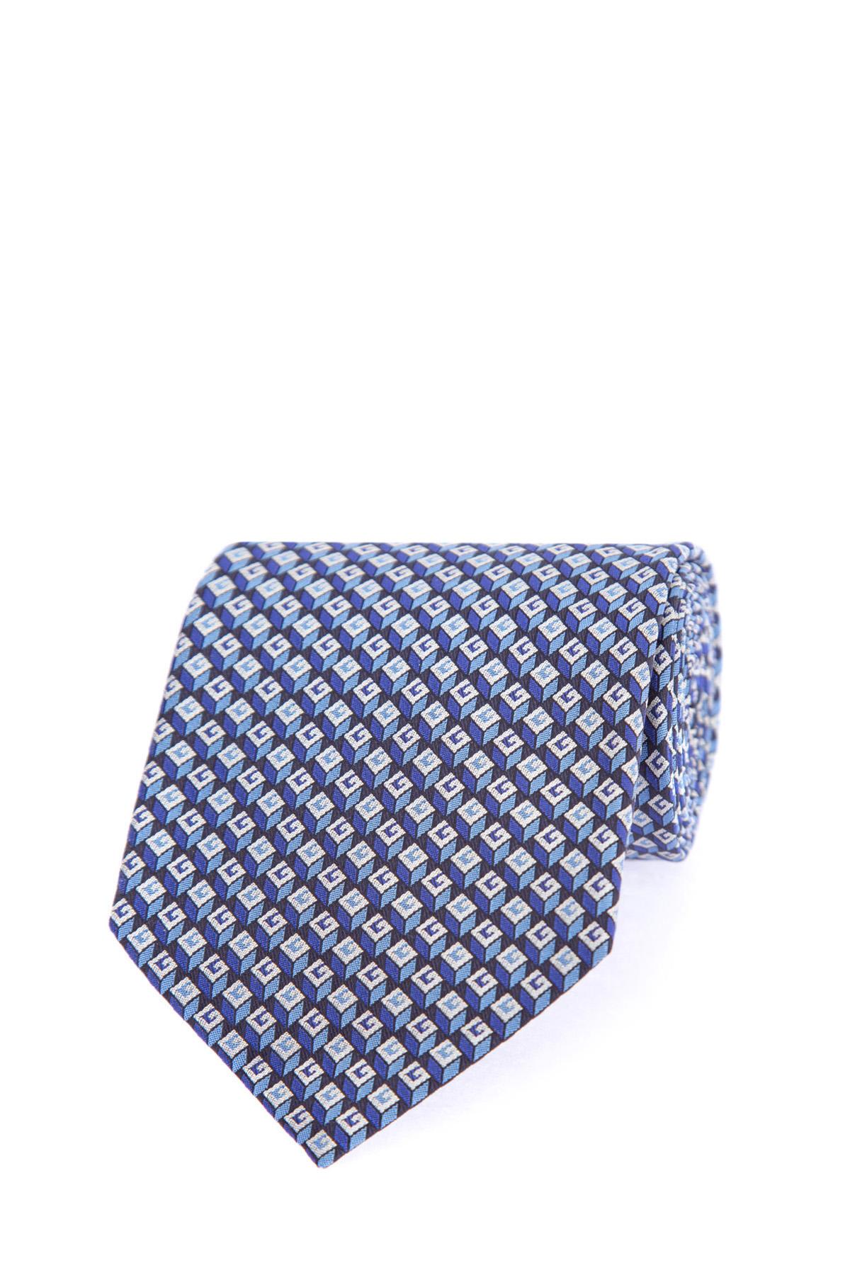 Купить Шелковый галстук с повторяющимся геометрическим 3D узором в стиле красочных принтов 70-х годов, GUCCI, Италия, шелк 100%