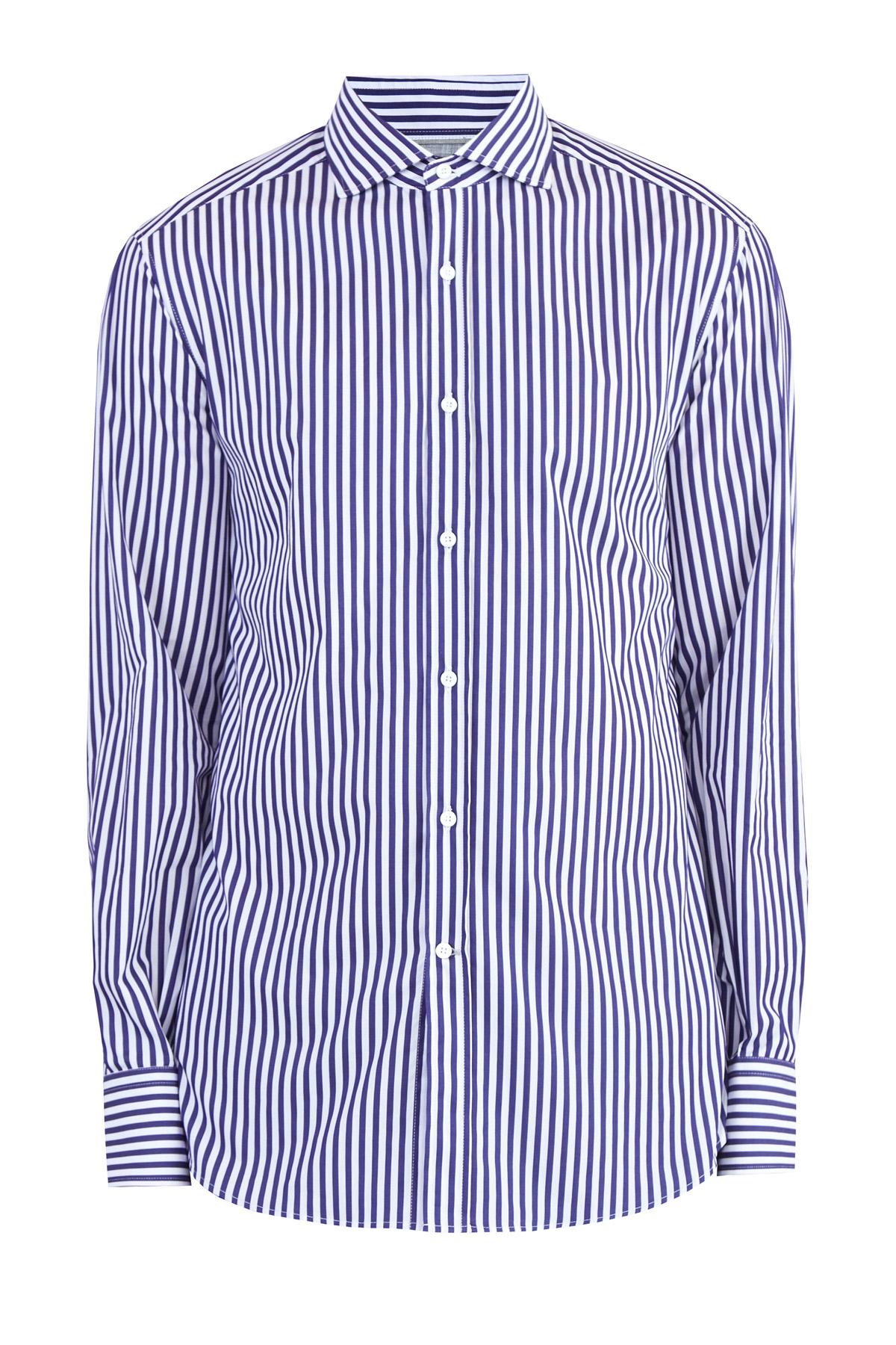 Купить Рубашка из поплина с узором в полоску, BRUNELLO CUCINELLI, Италия, хлопок 100%