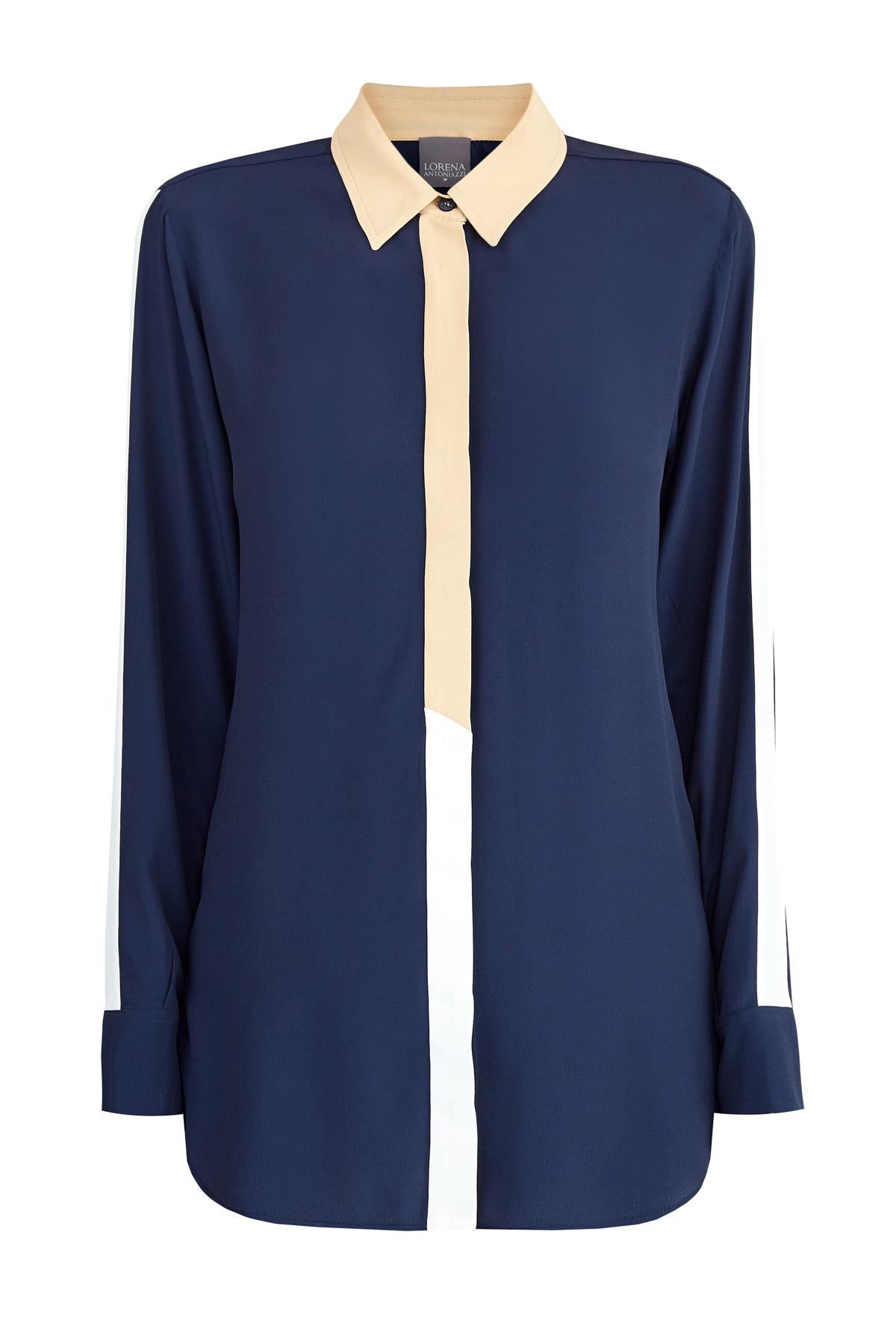 Блуза свободного кроя из шелковой ткани с контрастными деталями фото