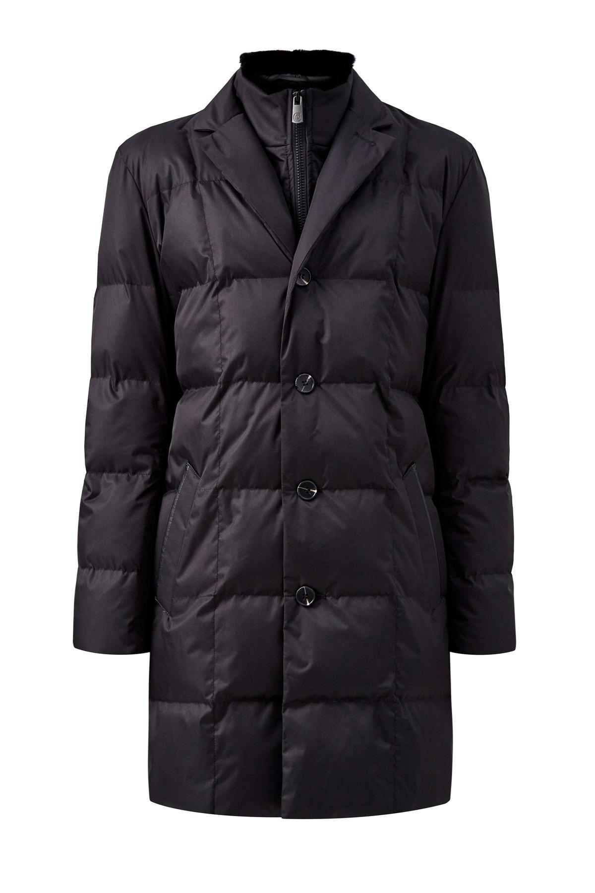 Куртка в классическом стиле с мехом кролика на воротнике фото
