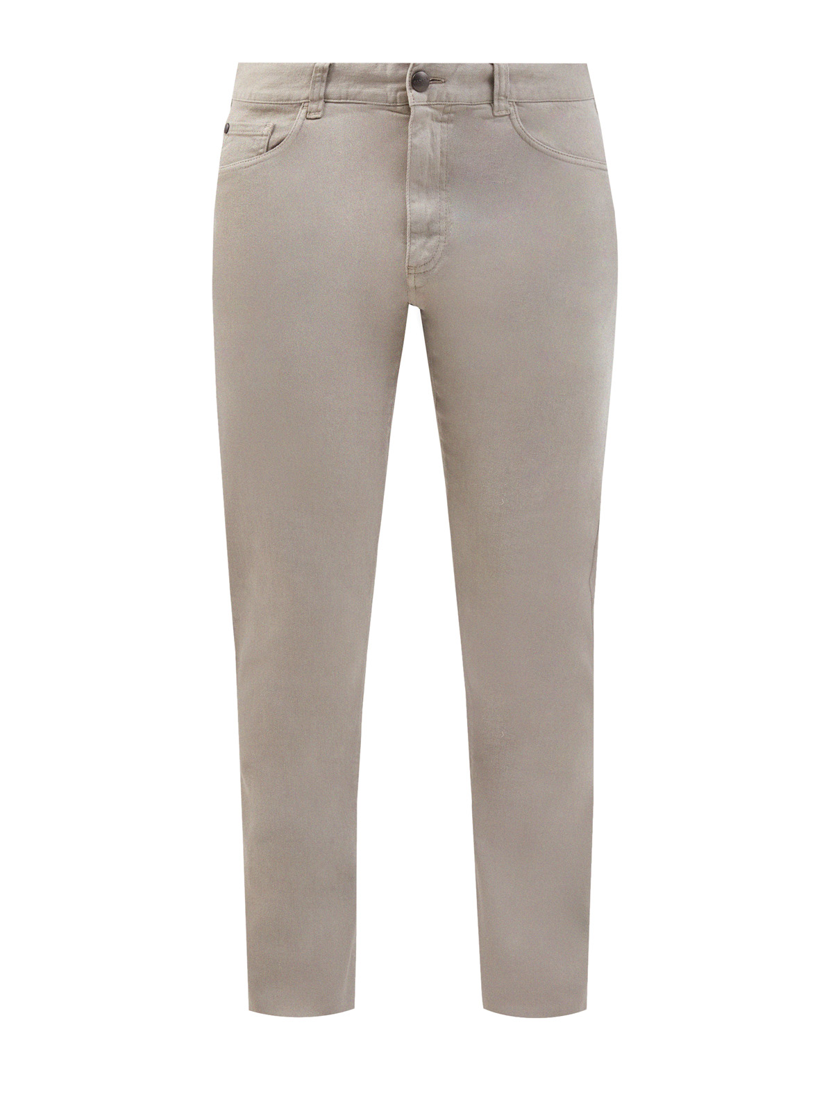 Бежевые джинсы с нашивкой из сафьяновой кожи