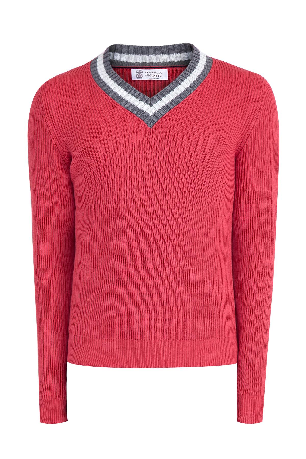 Купить Джемпер Golf Stripes из хлопка с особой рыхлой техникой вязки, BRUNELLO CUCINELLI, Италия, хлопок 100%