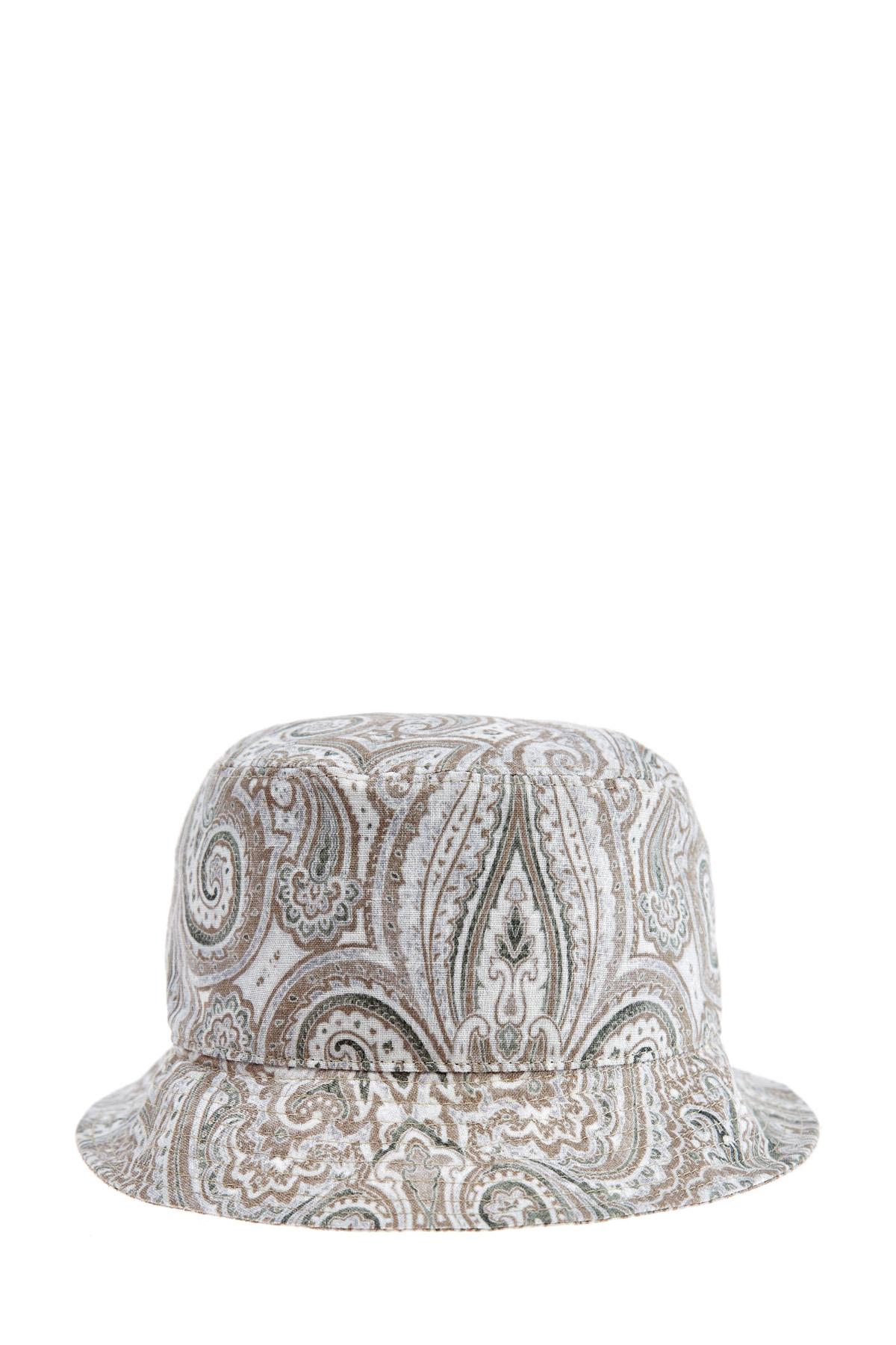 Купить Шляпа из натурального льна с узором пейсли и стегаными полями, ETRO, Италия, лен 100%