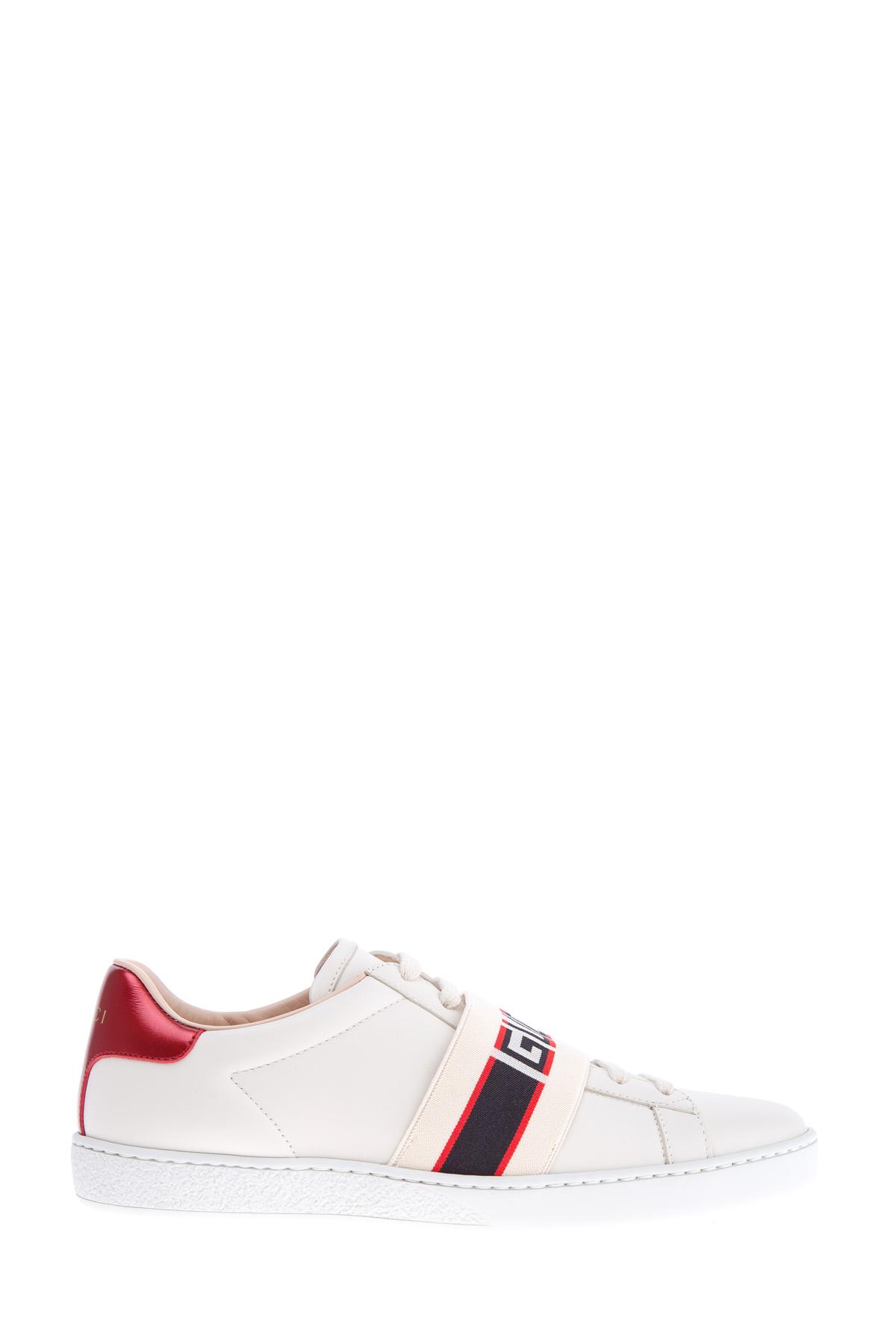 Купить Стильные кеды с широкой эластичной лентой с жаккардовой вышивкой в виде монограммы бренда, GUCCI, Италия, кожа 100%