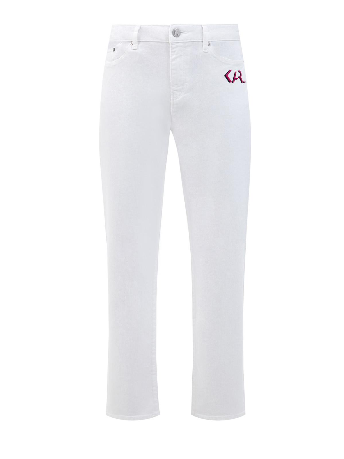 Белые джинсы прямого кроя с принтом Karl Legend